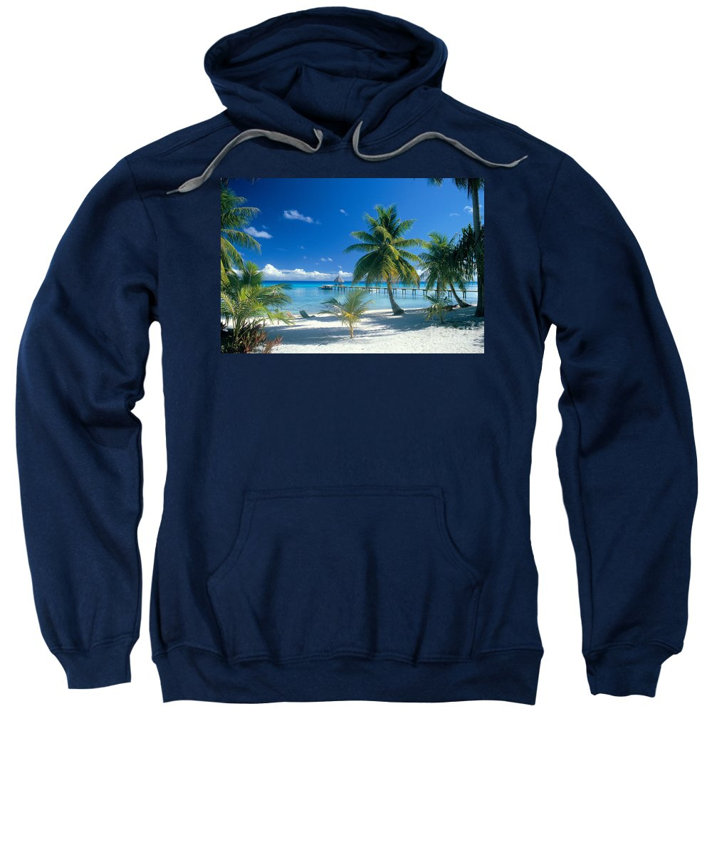 Blue Sweatshirt featuring the photograph Rangiroa Atoll, Kia Ora by Peter Stone - Printscapes