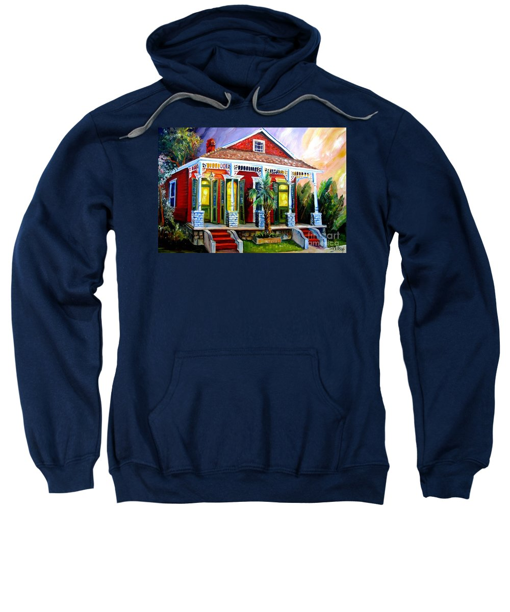 New Orleans Sweatshirt featuring the painting Red Shotgun House by Diane Millsap