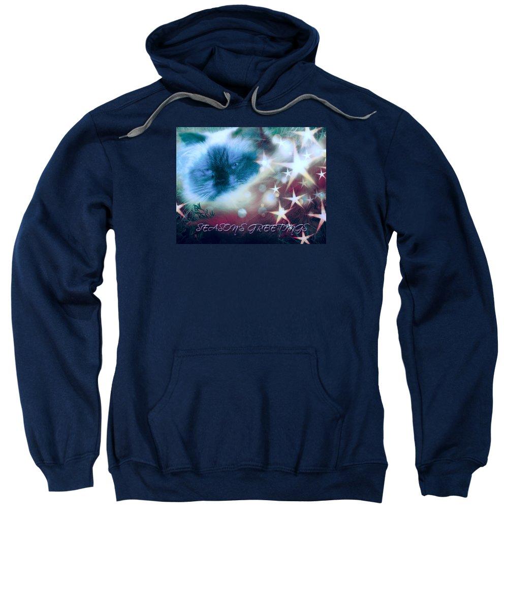 Sweatshirt featuring the digital art Seasons Greetings by Theresa Campbell