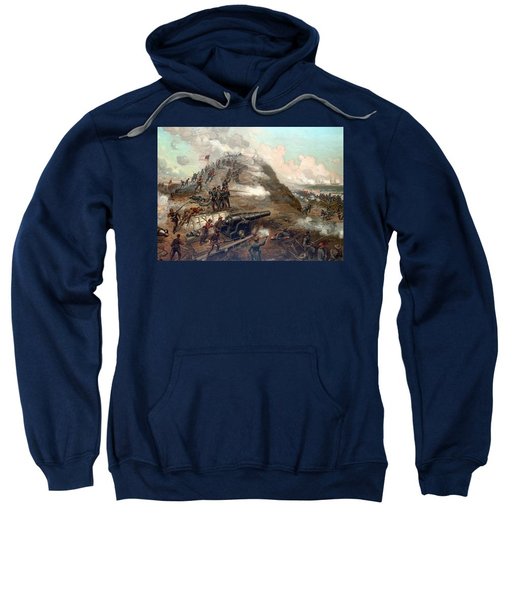 Civil War Sweatshirt featuring the painting The Capture Of Fort Fisher by War Is Hell Store
