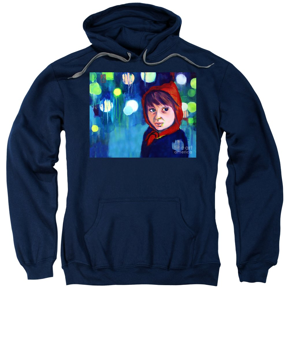 Mysterious Sweatshirt featuring the painting The Miracle by Angelique Bowman