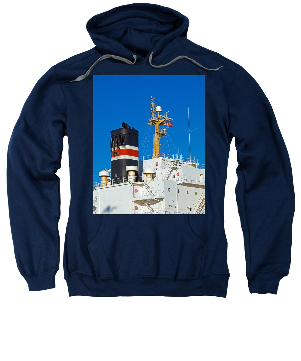 Cape; Canaveral; Port; Florida; Atlantic; Ship; Boat; Freight; Freighter; Bulk; Coal; Unloading; Loa Sweatshirt featuring the photograph Tramp Steamer Unloading Coal At Port Canaveral In Florida by Allan Hughes