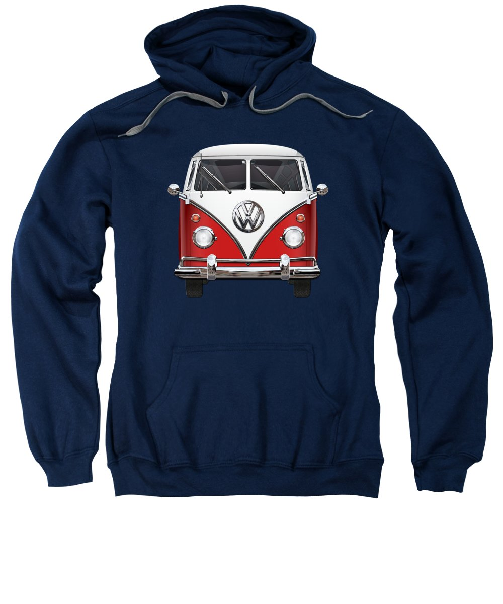 'volkswagen Type 2' Collection By Serge Averbukh Sweatshirt featuring the photograph Volkswagen Type 2 - Red And White Volkswagen T 1 Samba Bus Over Green Canvas by Serge Averbukh