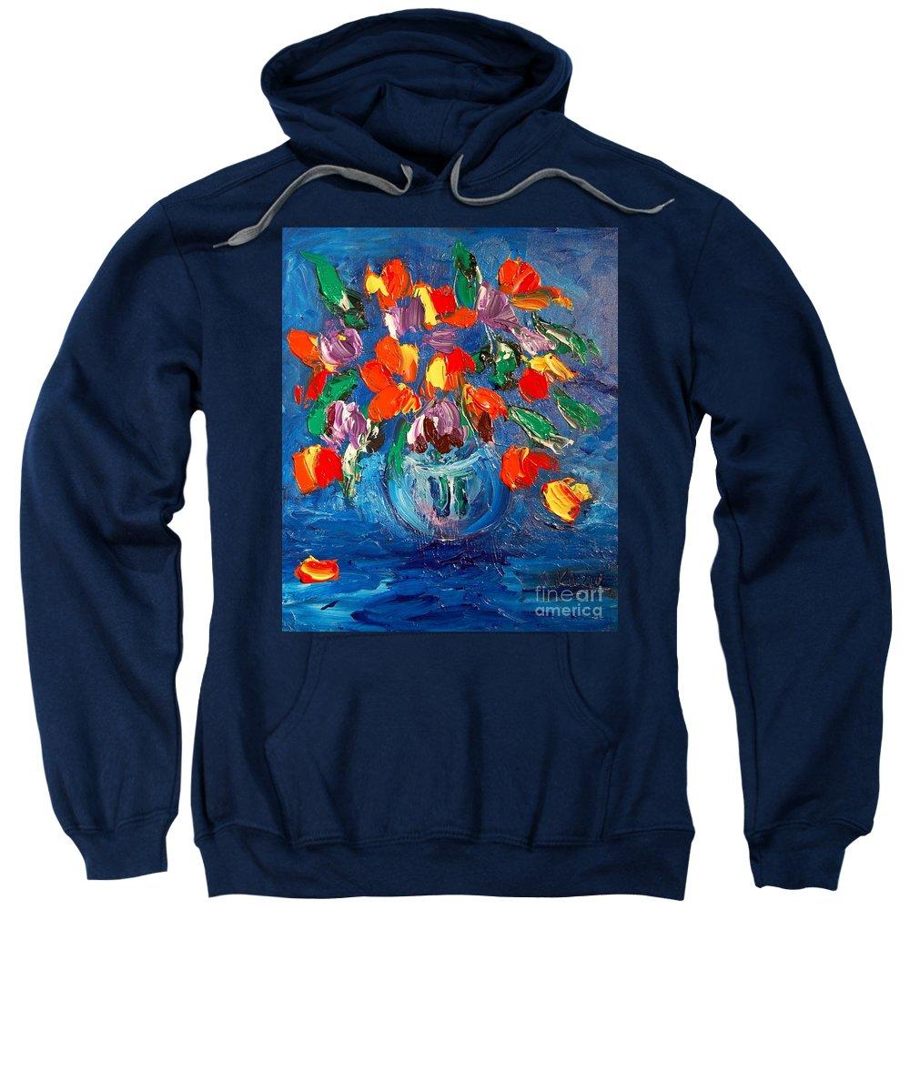 Kazav Framed Prints Sweatshirt featuring the painting Tulips by Mark Kazav