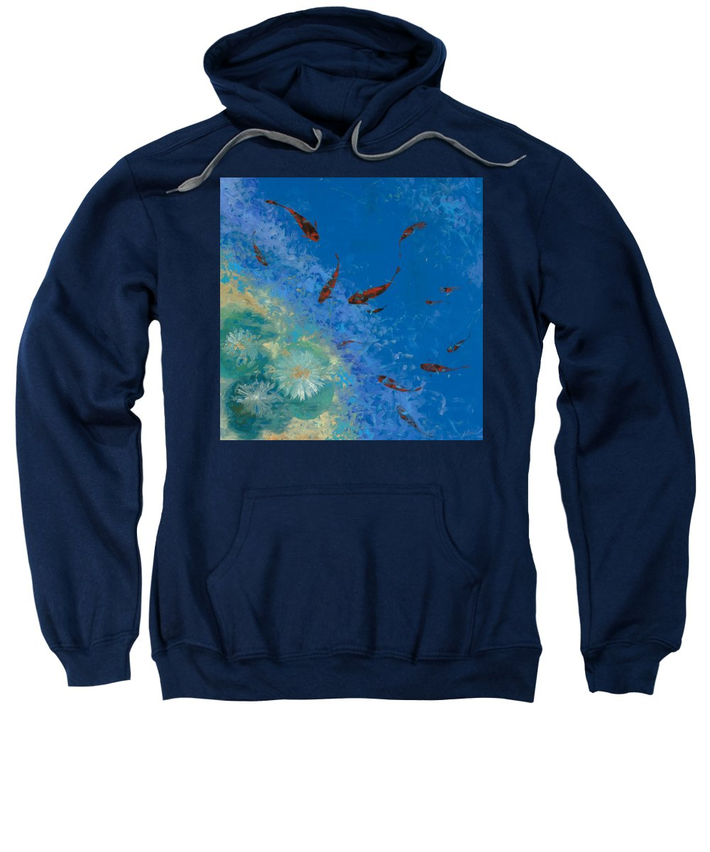 Fishscape Sweatshirt featuring the painting 13 Pesciolini Rossi by Guido Borelli