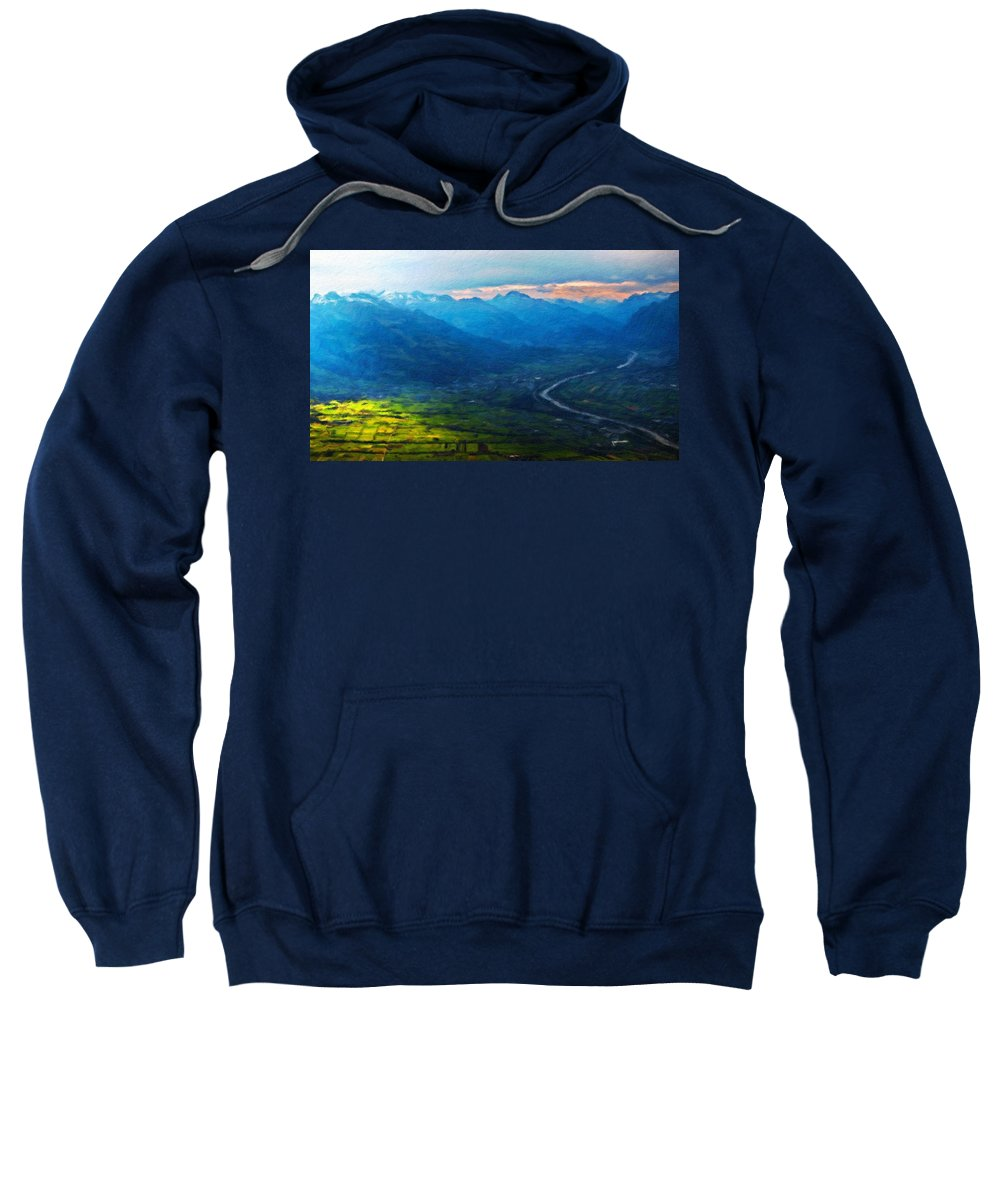 Landscape Sweatshirt featuring the painting Oil Paintings Art Landscape Nature by World Map