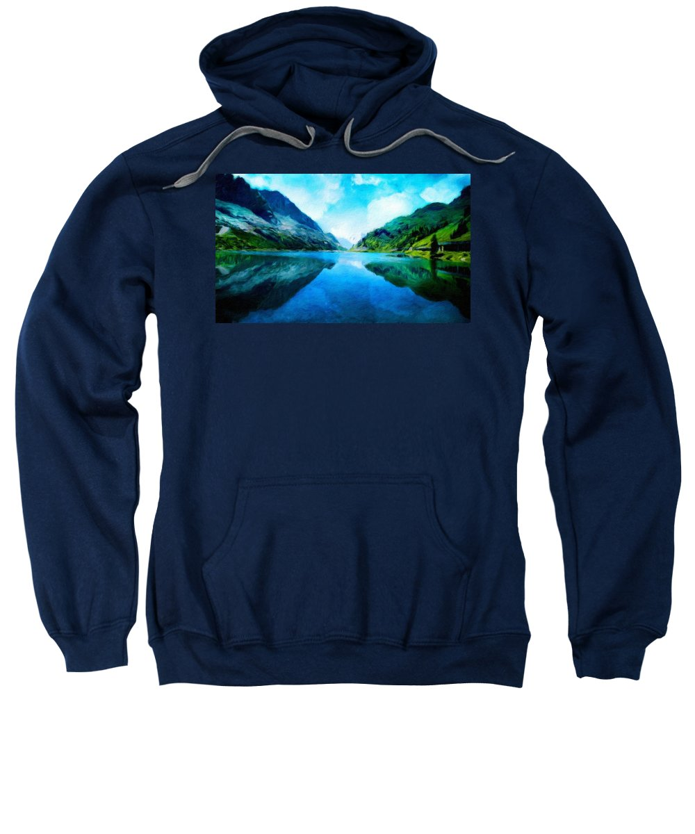 Landscape Sweatshirt featuring the painting Nature Work Landscape by World Map