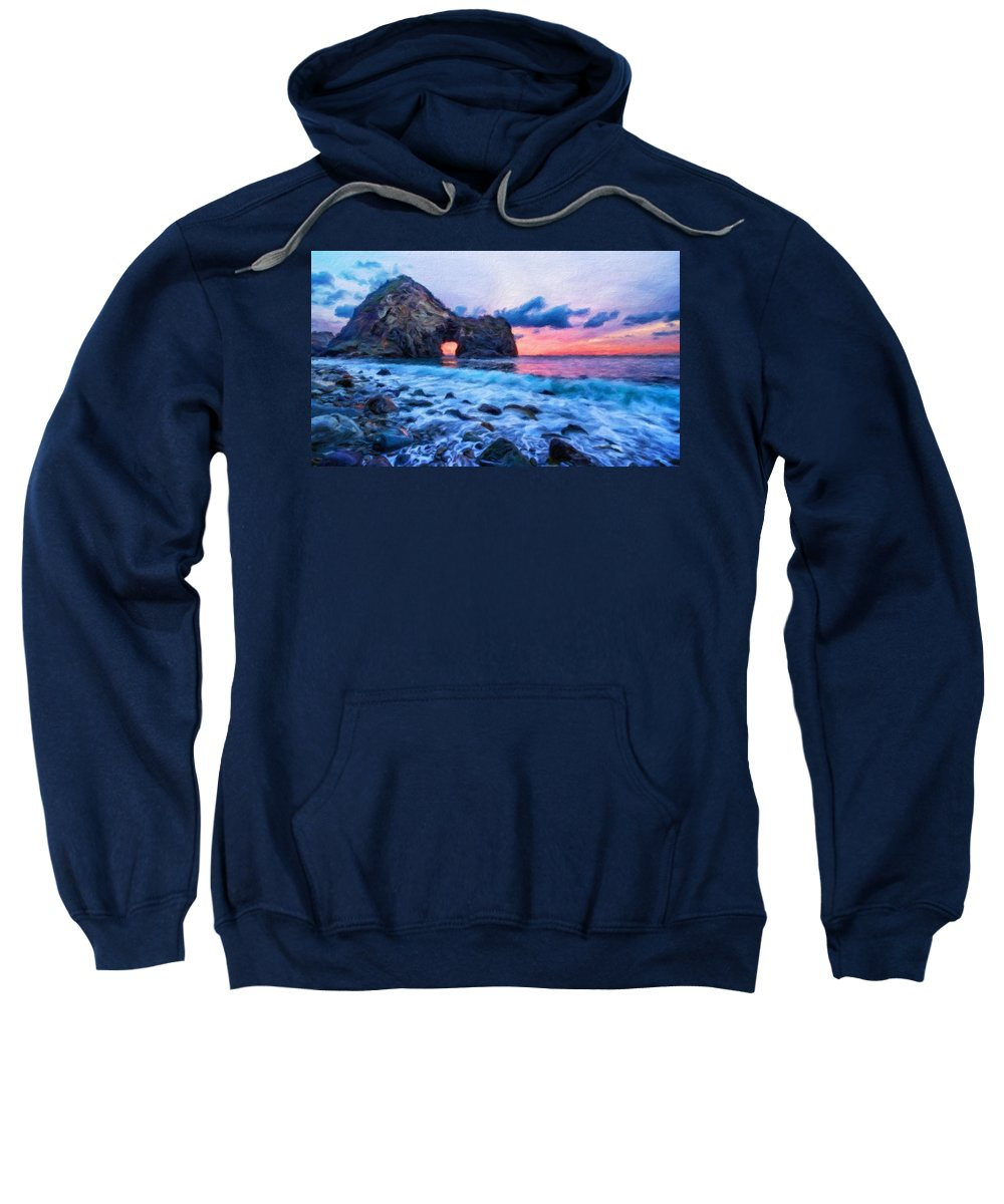 Landscape Sweatshirt featuring the painting Nature Landscape Wall Art by World Map