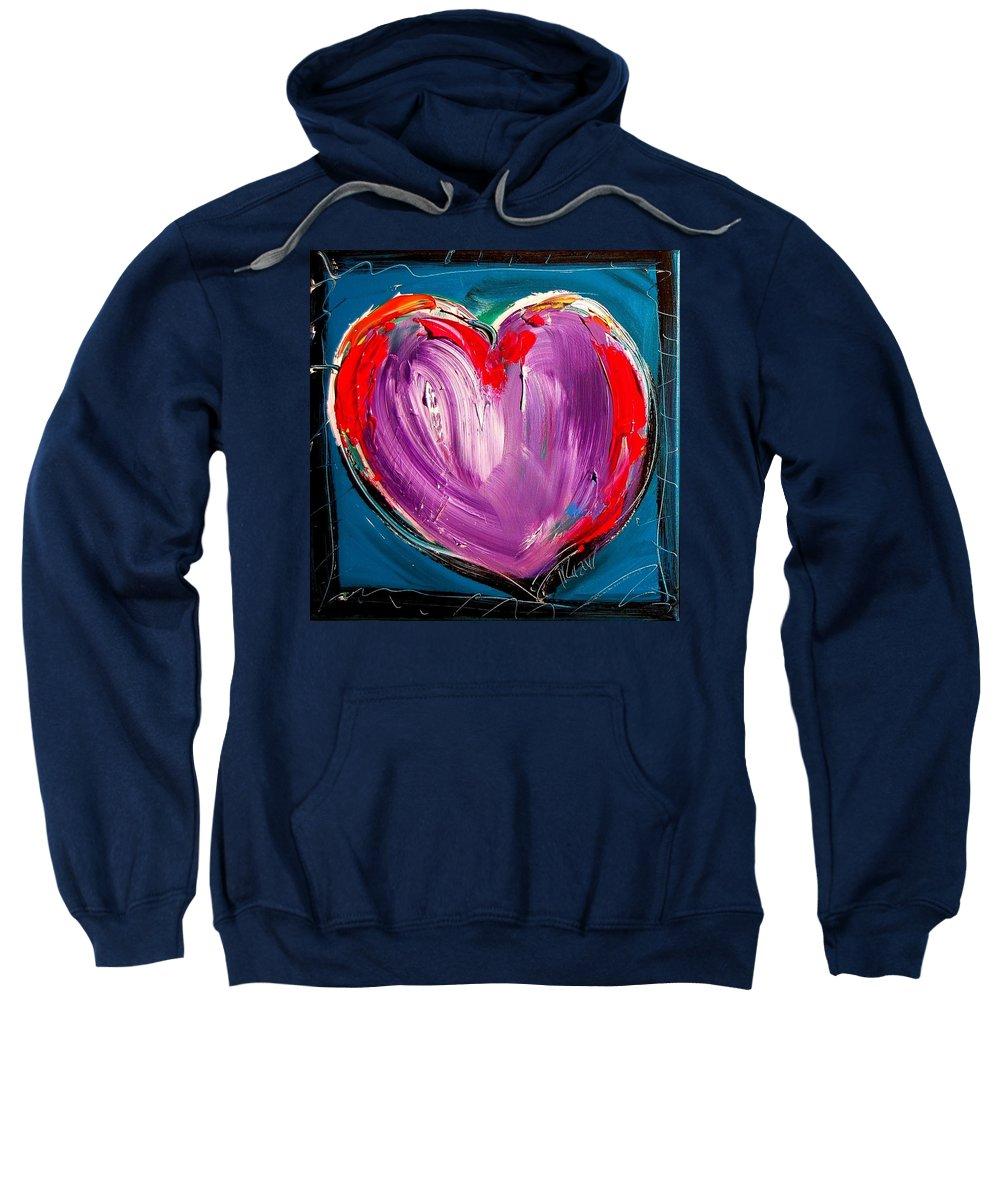 Newyork Sweatshirt featuring the painting Heart by Mark Kazav