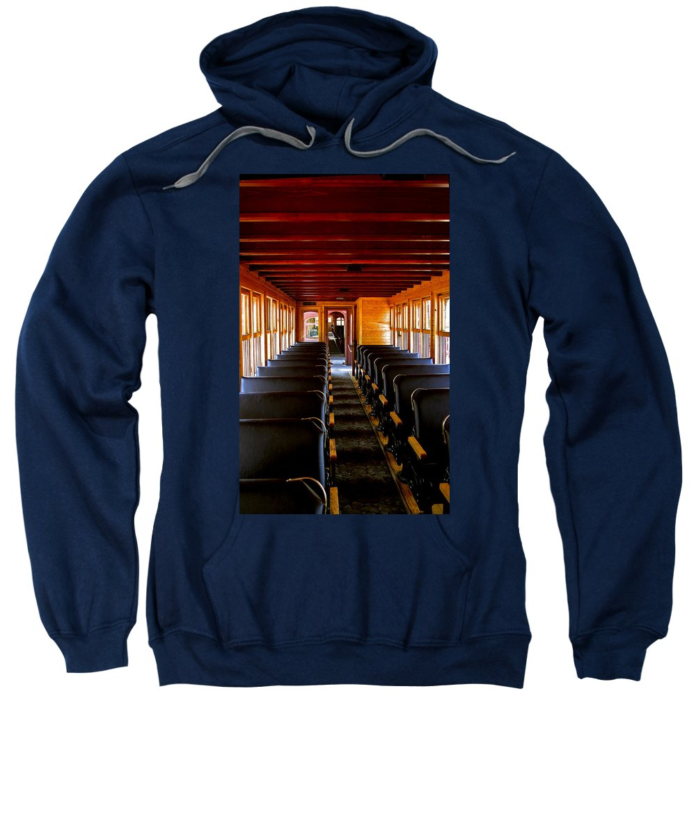 Mount Rushmore Sweatshirt featuring the photograph 1880 Train Interior by Mike Oistad
