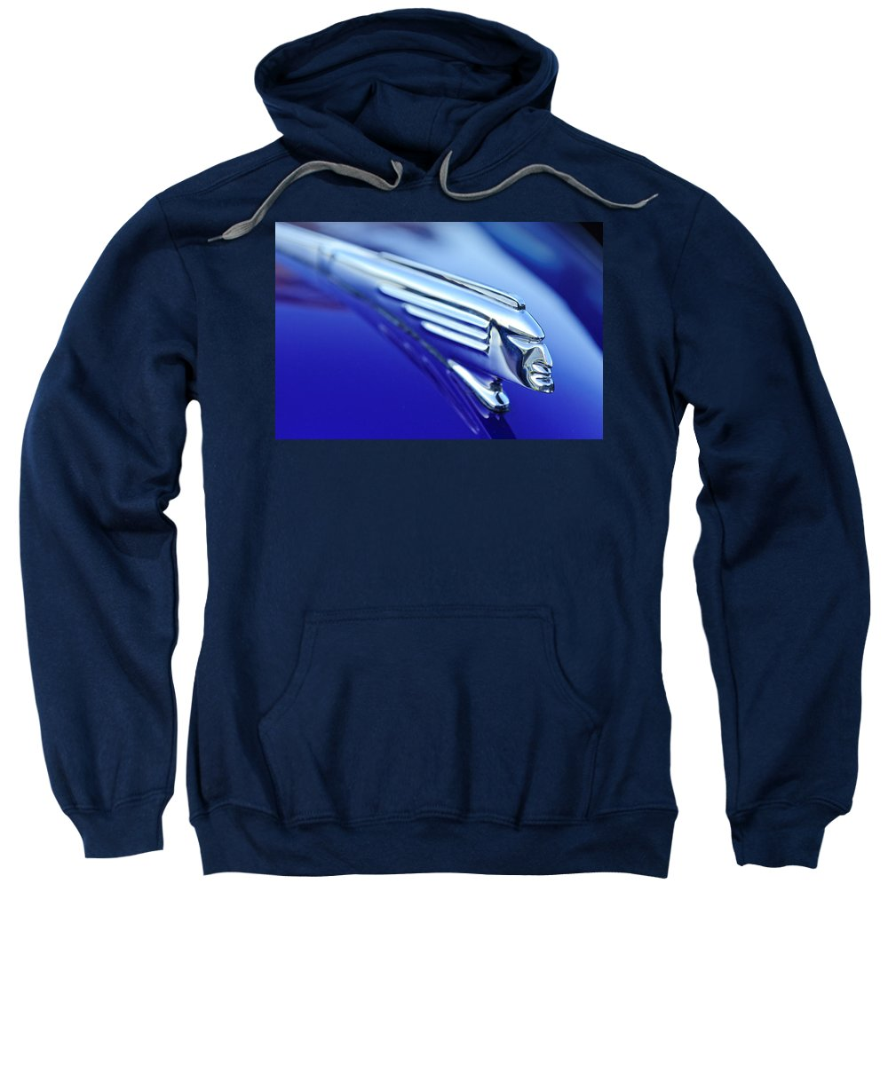 1939 Pontiac Coupe Sweatshirt featuring the photograph 1939 Pontiac Coupe Hood Ornament 4 by Jill Reger