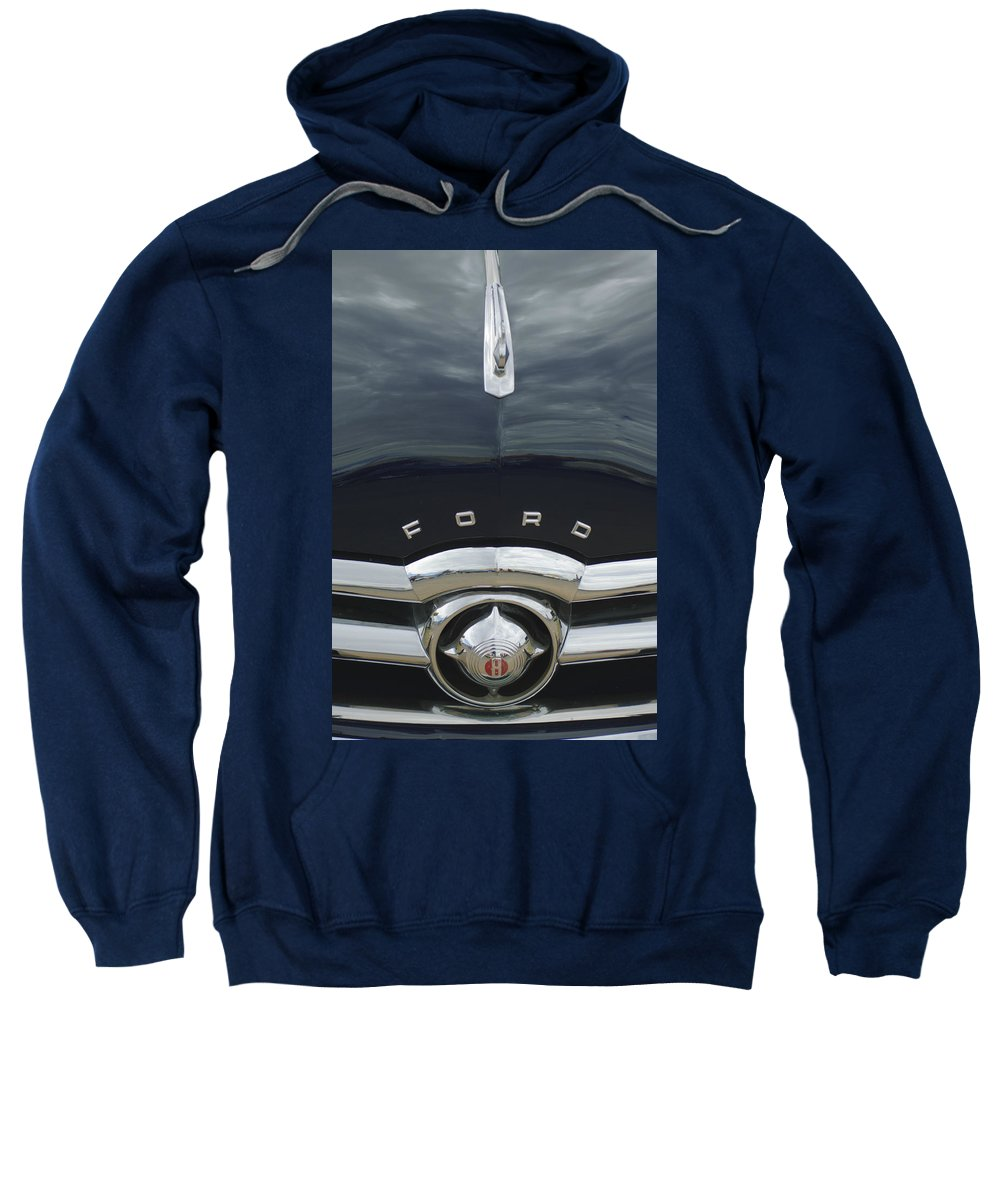 1949 Ford Sweatshirt featuring the photograph 1949 Ford Hood Ornament 4 by Jill Reger