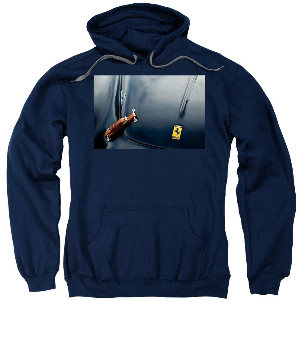 1950 Ferrari Sweatshirt featuring the photograph 1950 Ferrari Hood Emblem by Jill Reger