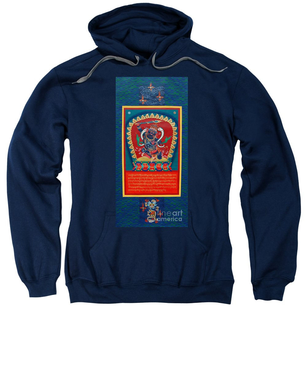 Thangka Sweatshirt featuring the painting Arya Achala - Immovable One by Sergey Noskov