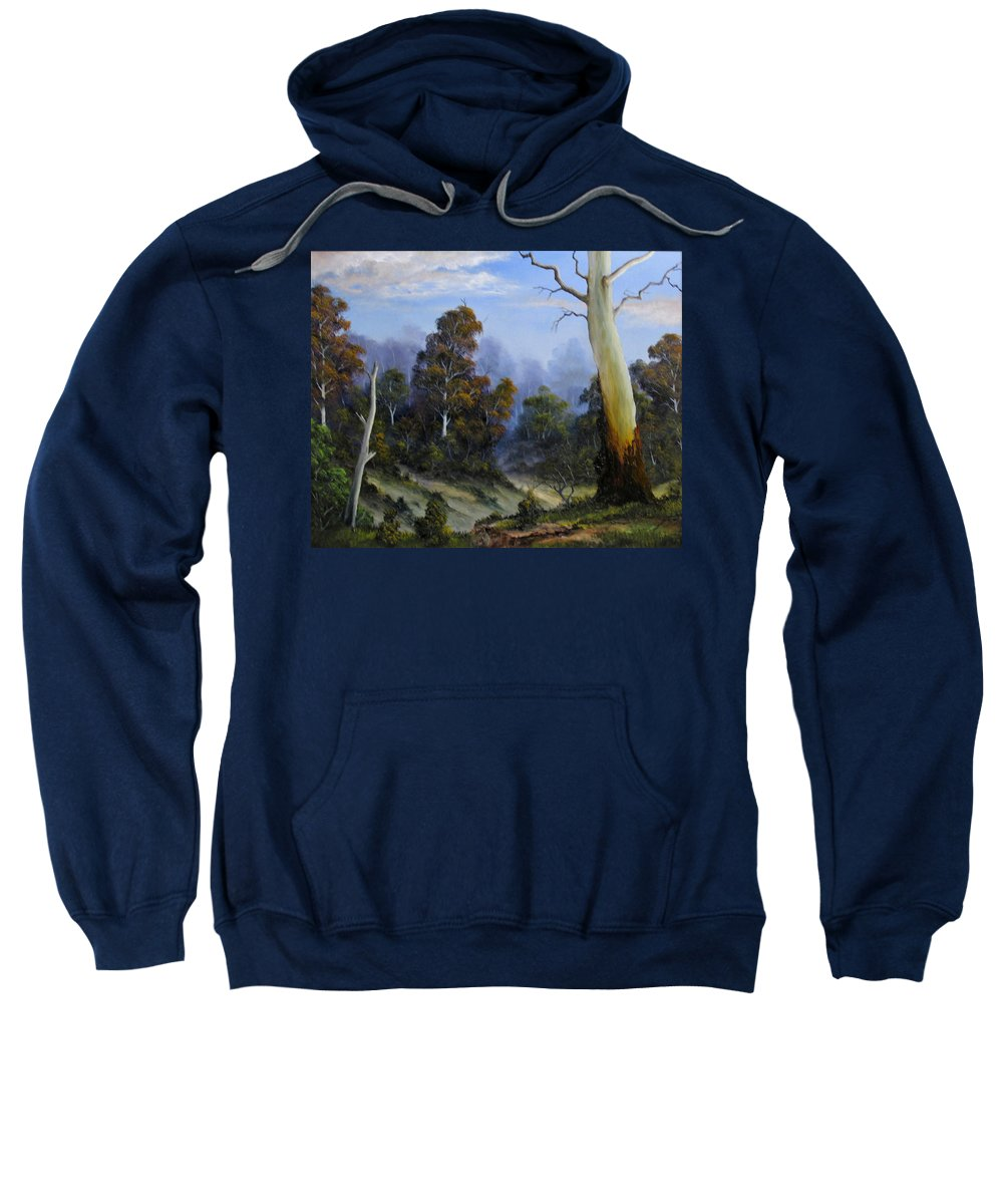 Gumtrees Sweatshirt featuring the painting Country View by John Cocoris