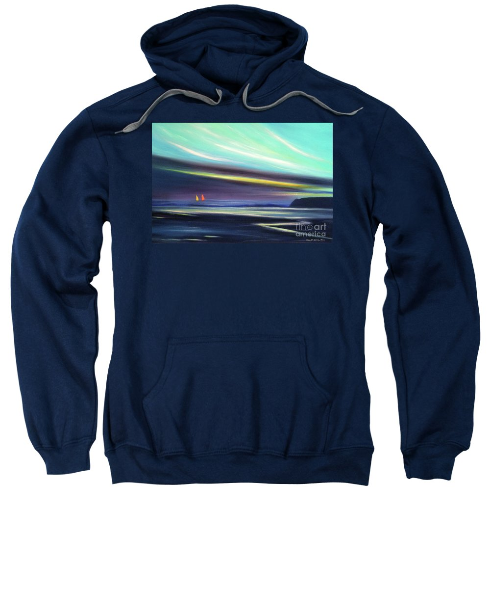 Brown Sweatshirt featuring the painting Peace Is Colorful 2 by Gina De Gorna