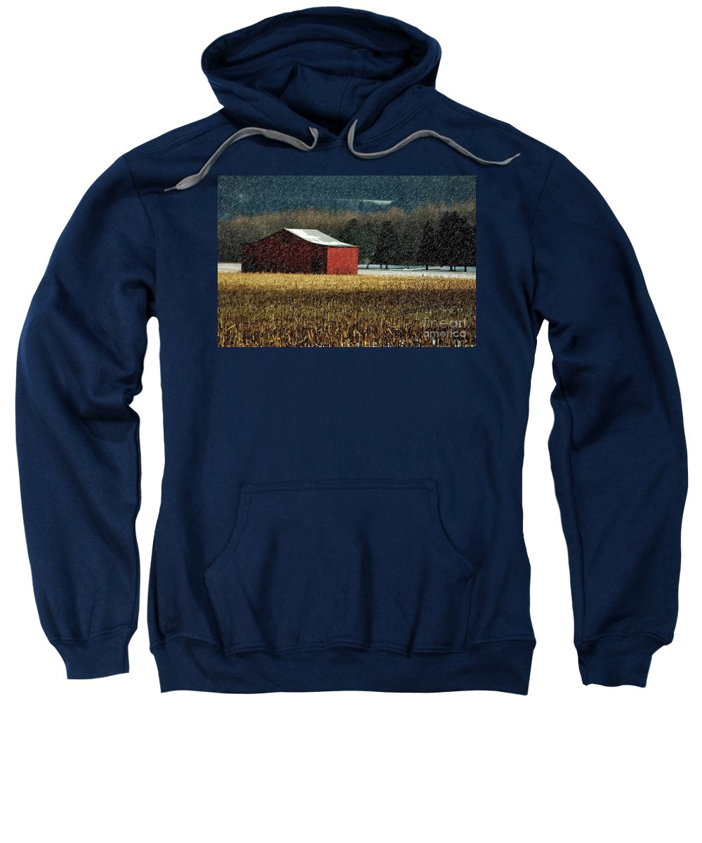 Barn Sweatshirt featuring the photograph Snowy Red Barn In Winter by Lois Bryan