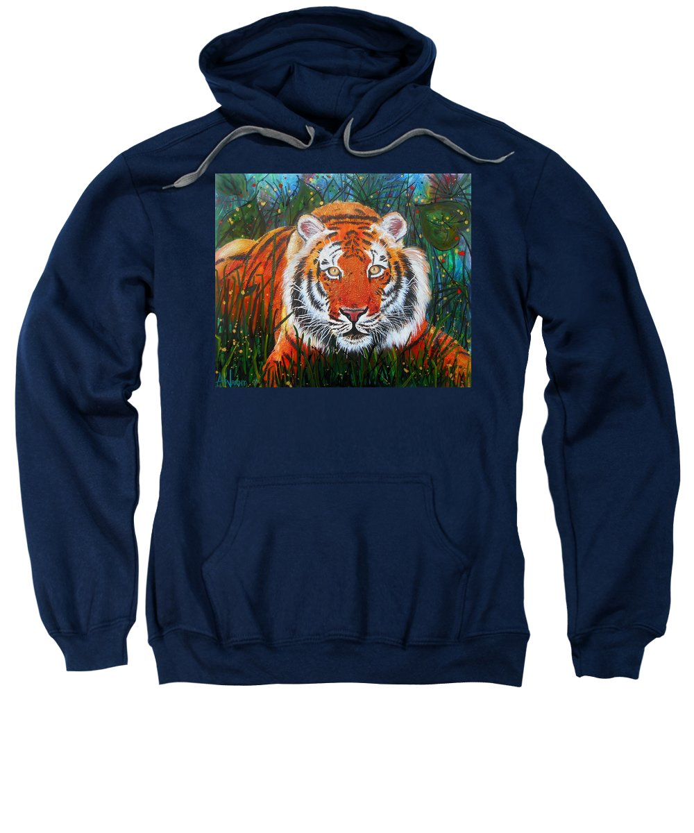 Tiger Sweatshirt featuring the painting Tiger- Large Work by Angie Wright