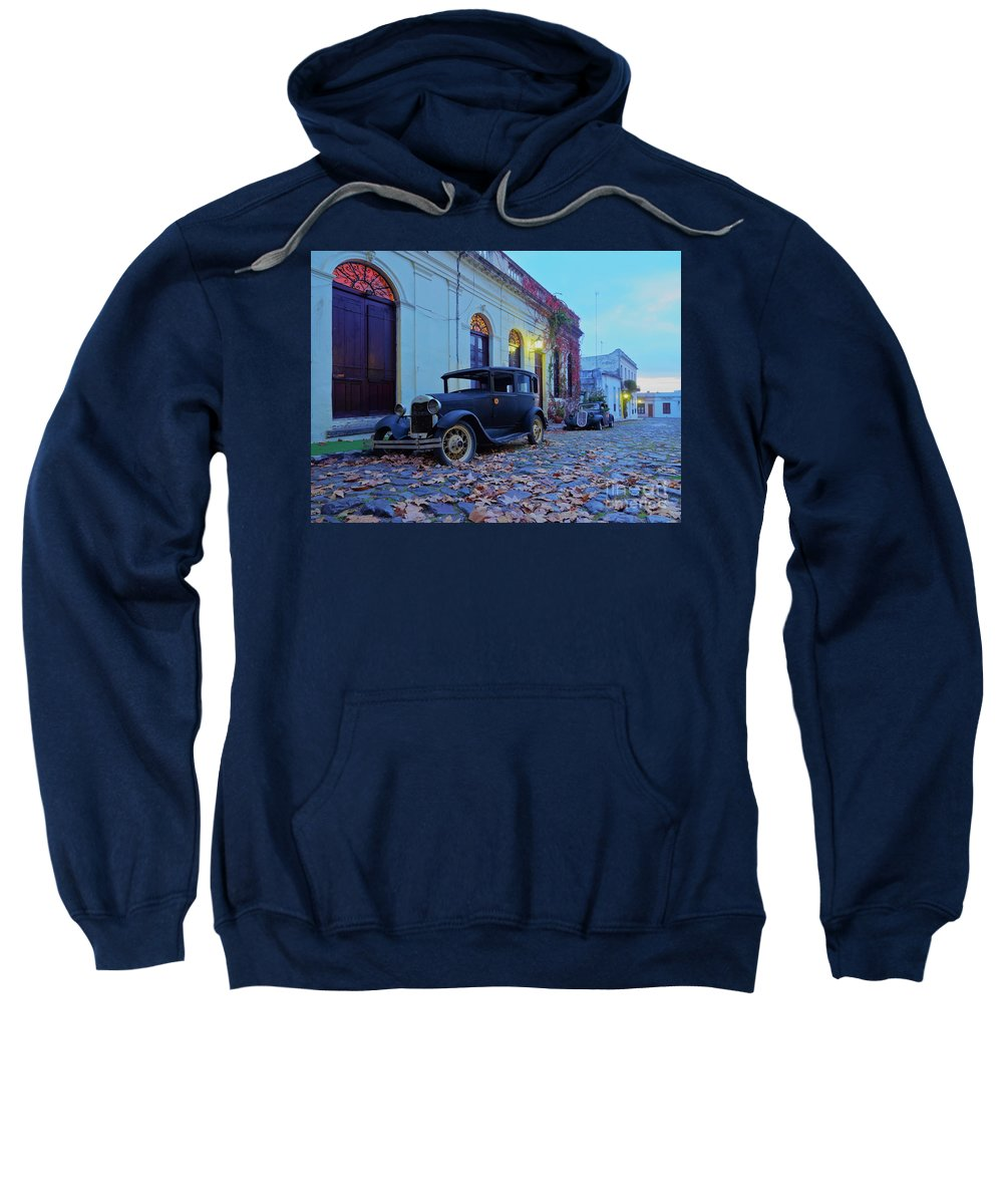 South America Sweatshirt featuring the photograph Vintage Cars In Colonia Del Sacramento, Uruguay by Karol Kozlowski