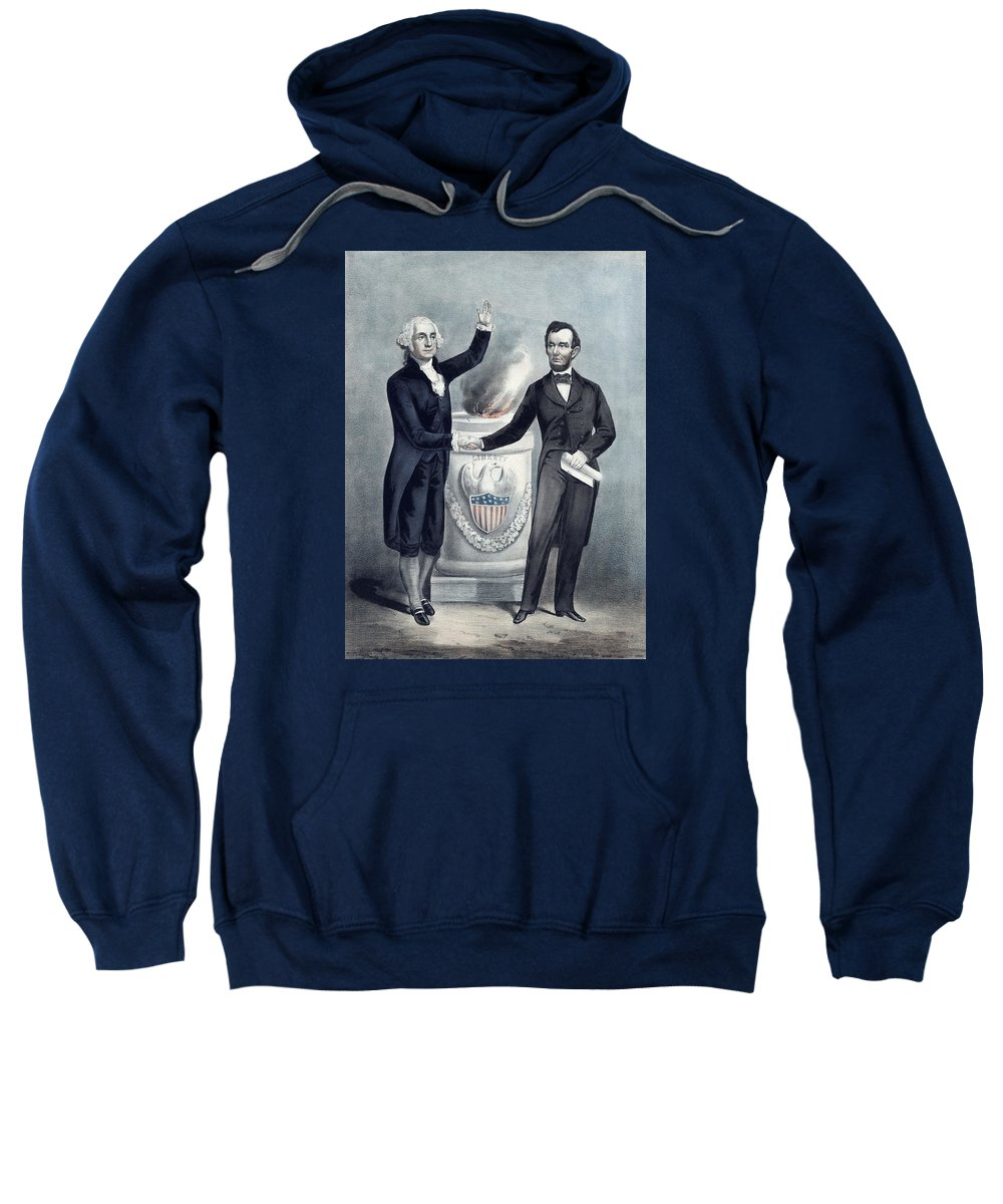 Abraham Lincoln Sweatshirt featuring the painting Washington And Lincoln by War Is Hell Store