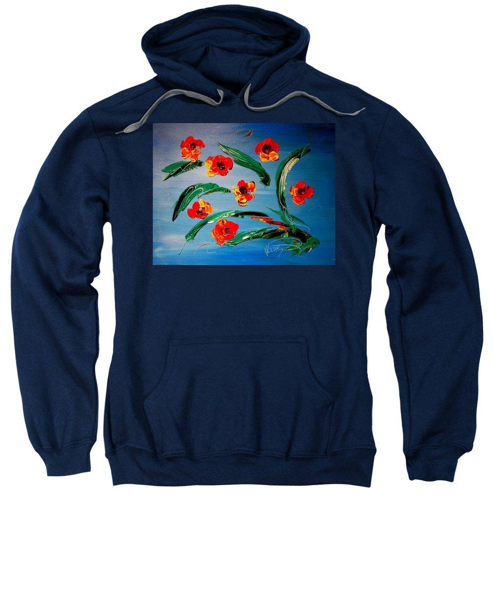 Sweatshirt featuring the painting Flowers by Mark Kazav