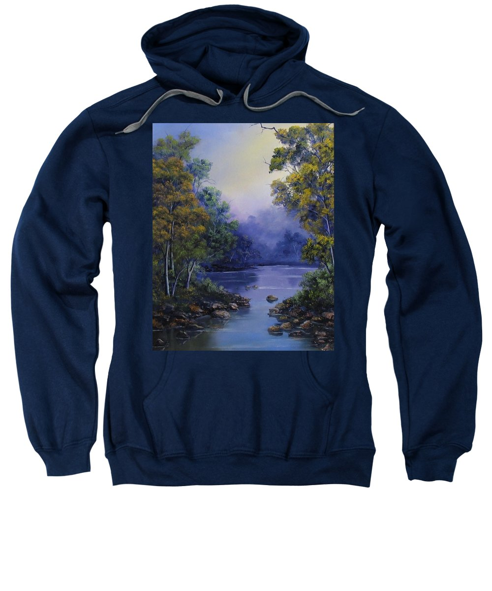 River Oil Painting Sweatshirt featuring the painting Calm Waters by John Cocoris