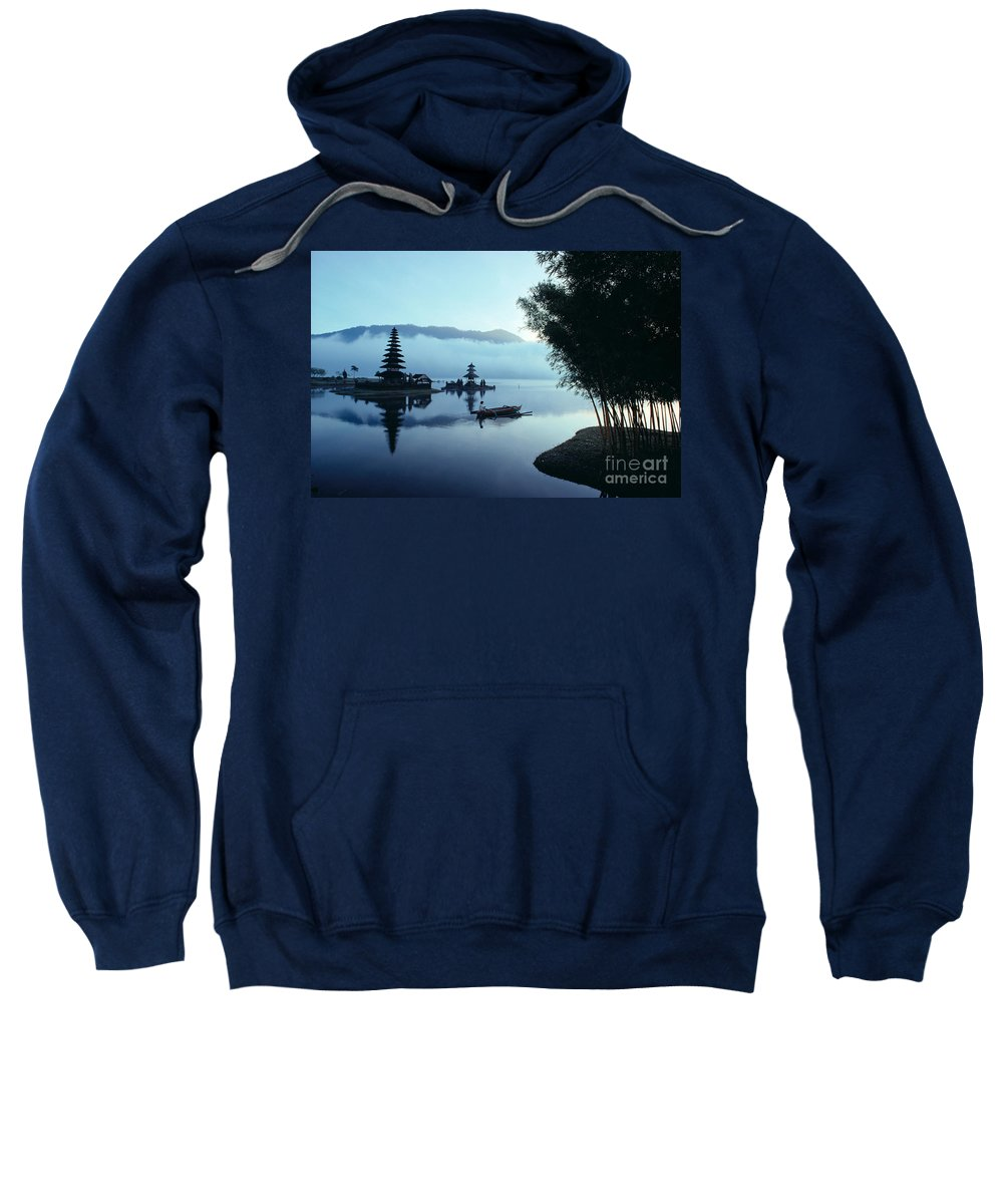 Bratan Sweatshirt featuring the photograph Ulu Danu Temple by William Waterfall - Printscapes