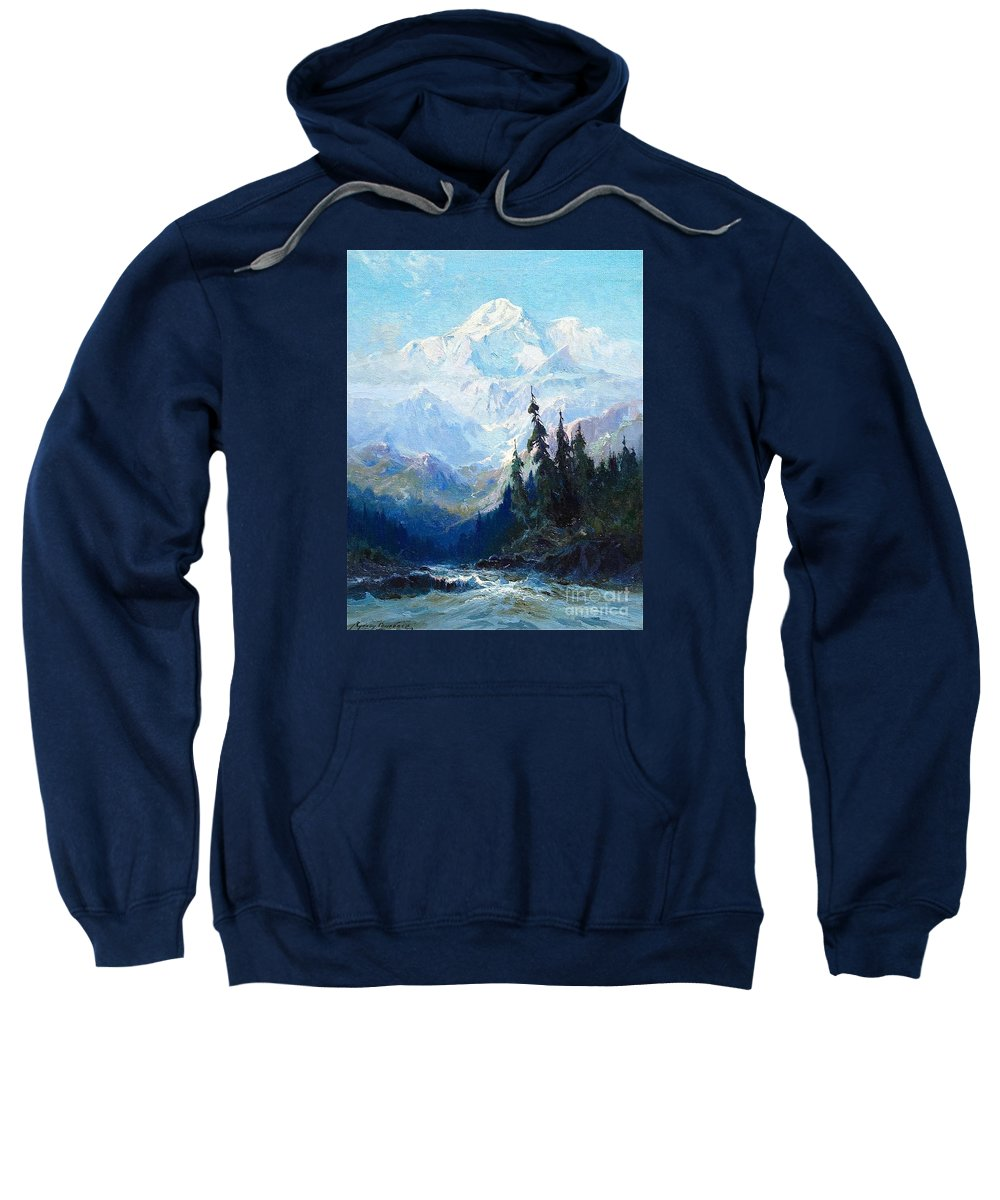 Sydney-laurence-mt-mckinley-rapids-of-the-tokacheetna-20-x-15-oil-on-canvas-period-newcomb-macklin Sweatshirt featuring the painting Sydney Laurence by MotionAge Designs