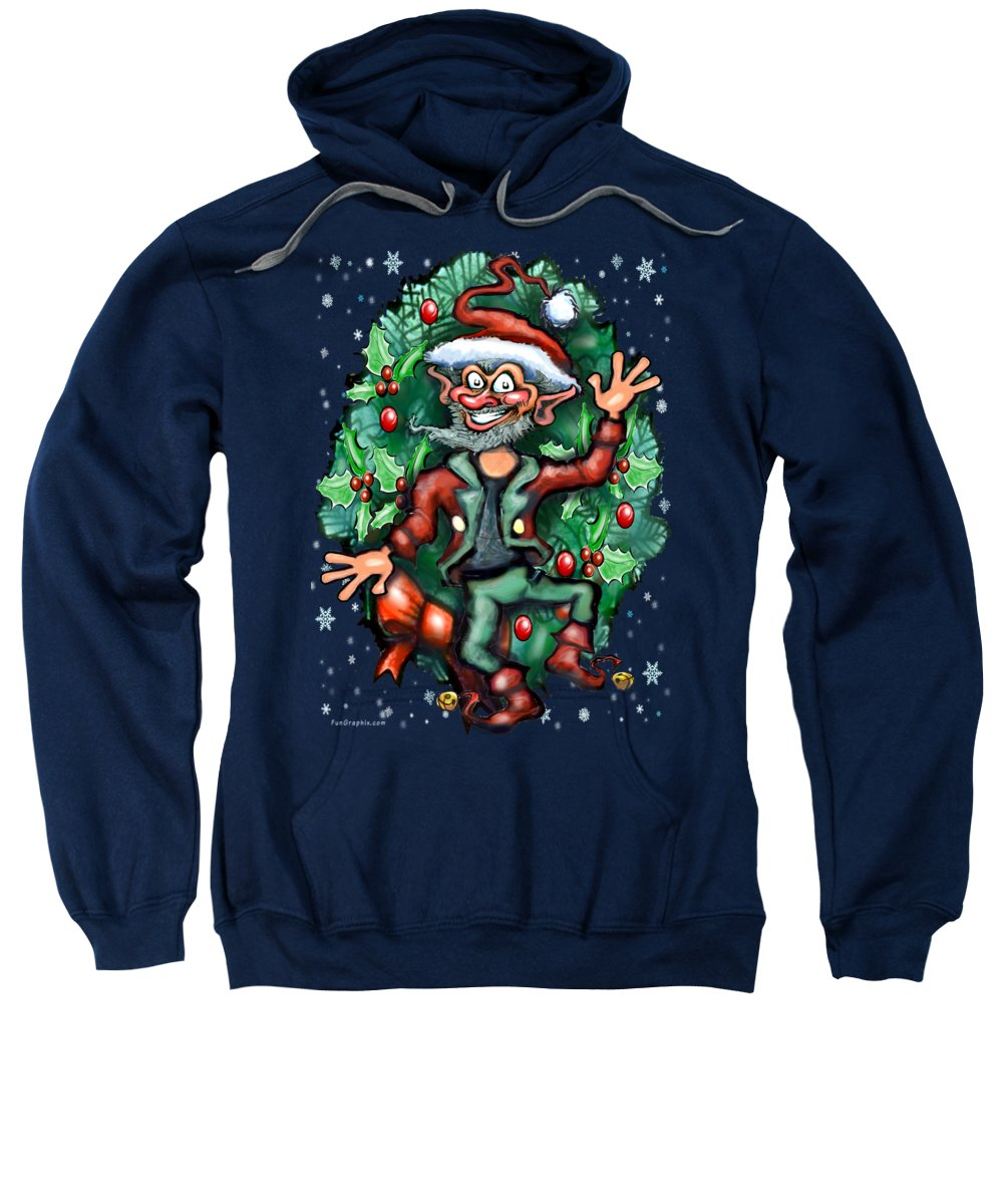 Christmas Sweatshirt featuring the painting Christmas Elf by Kevin Middleton