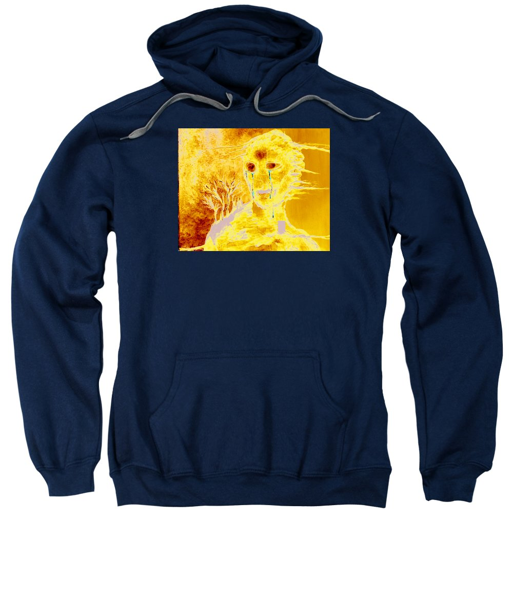 Blue Sweatshirt featuring the painting Untitled by Veronica Jackson