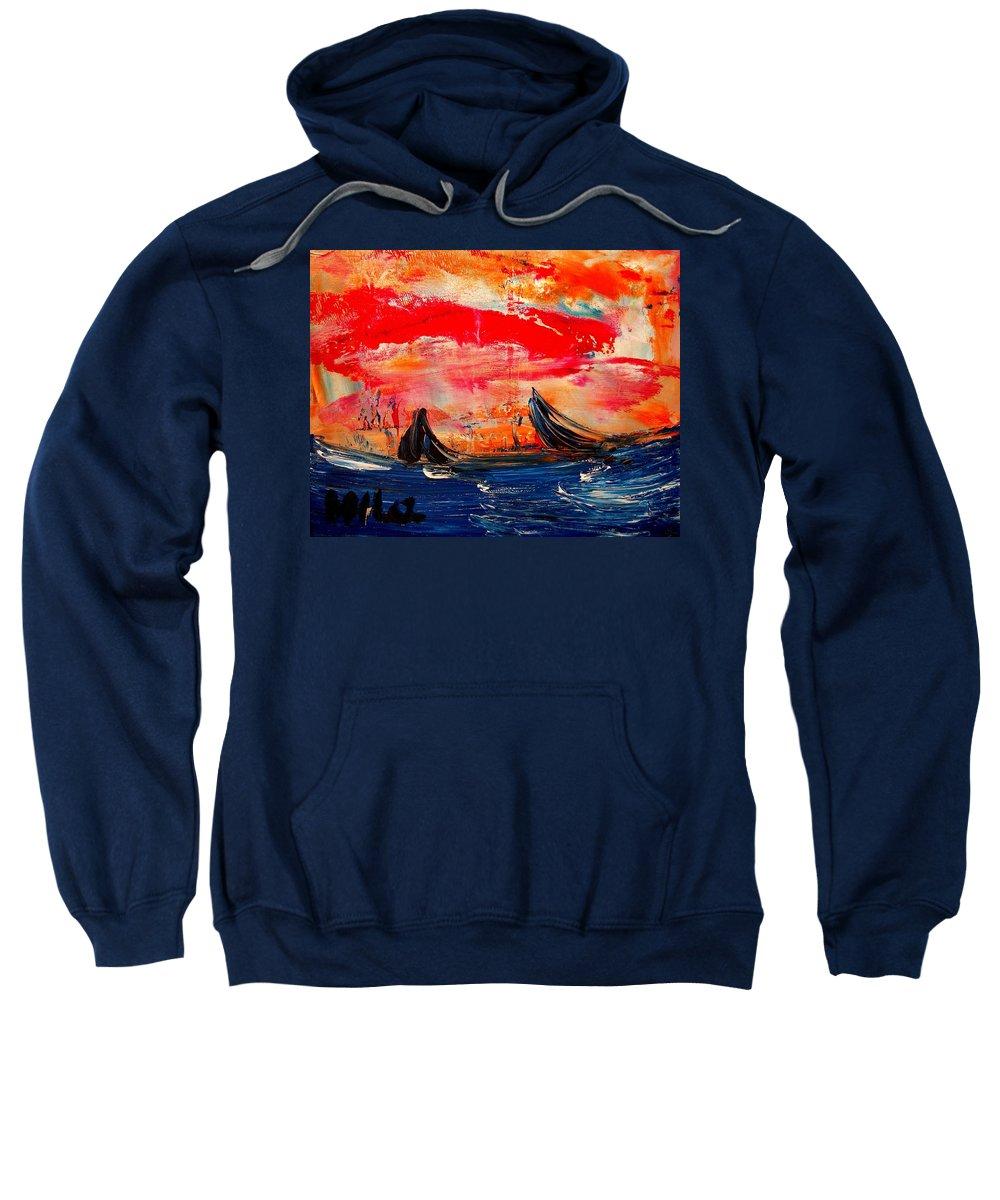 Landscape Framed Prints Sweatshirt featuring the painting Seascape by Mark Kazav
