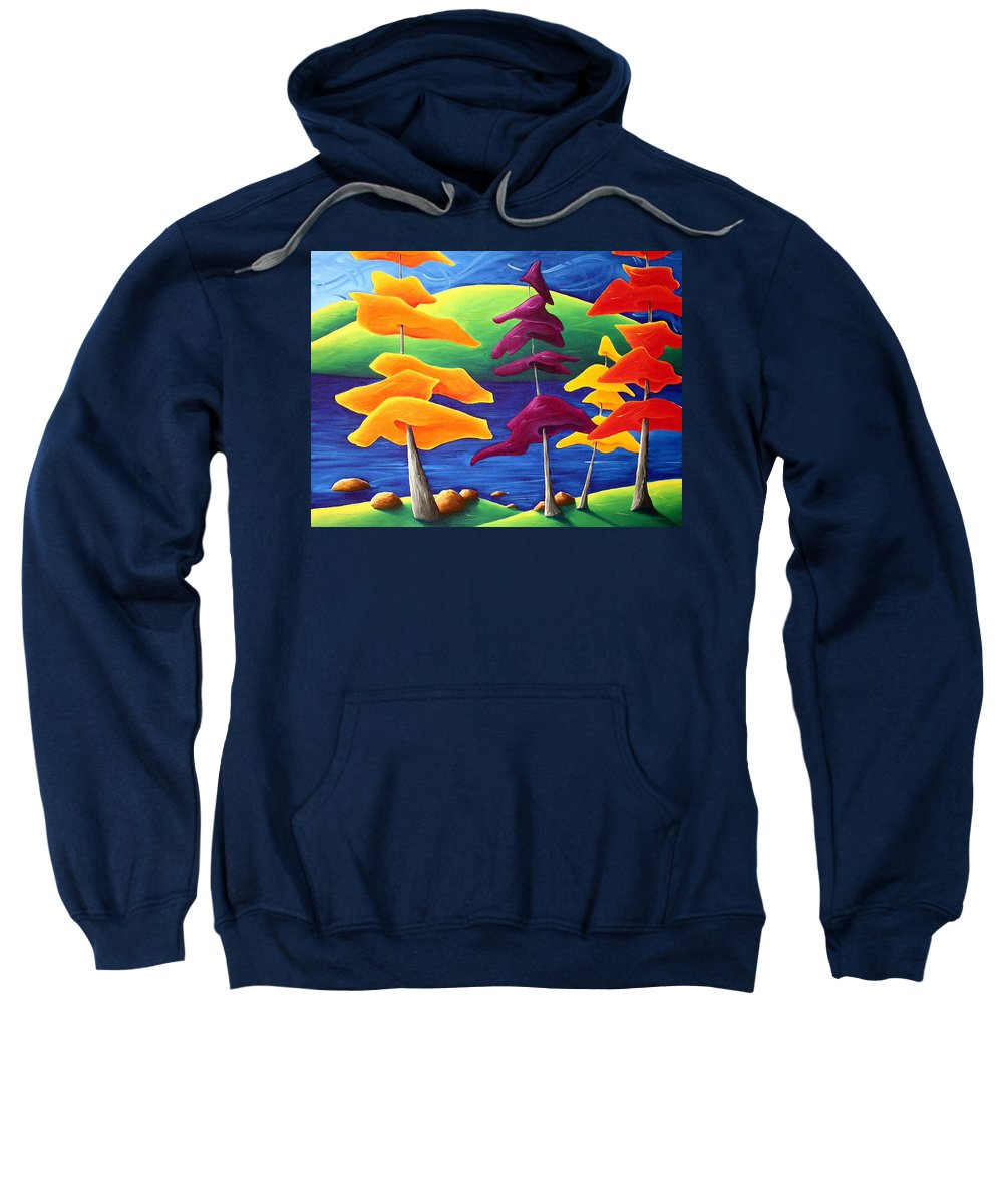 Landscape Sweatshirt featuring the painting A Crowd Gathers by Richard Hoedl