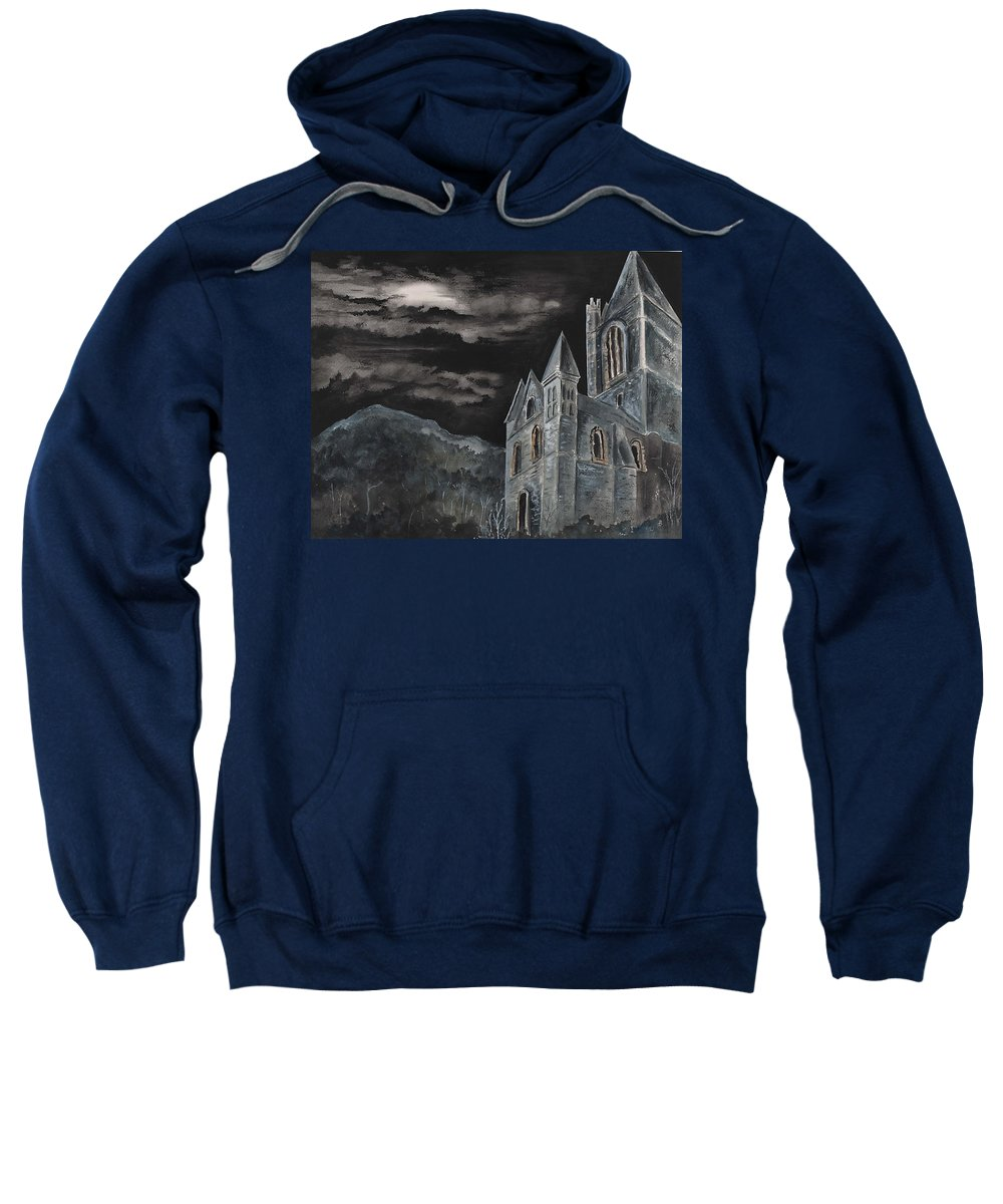 Landscape Gothic House Castle Church Dark Sky Watercolor Sweatshirt featuring the painting A Dark Strange Night by Brenda Owen
