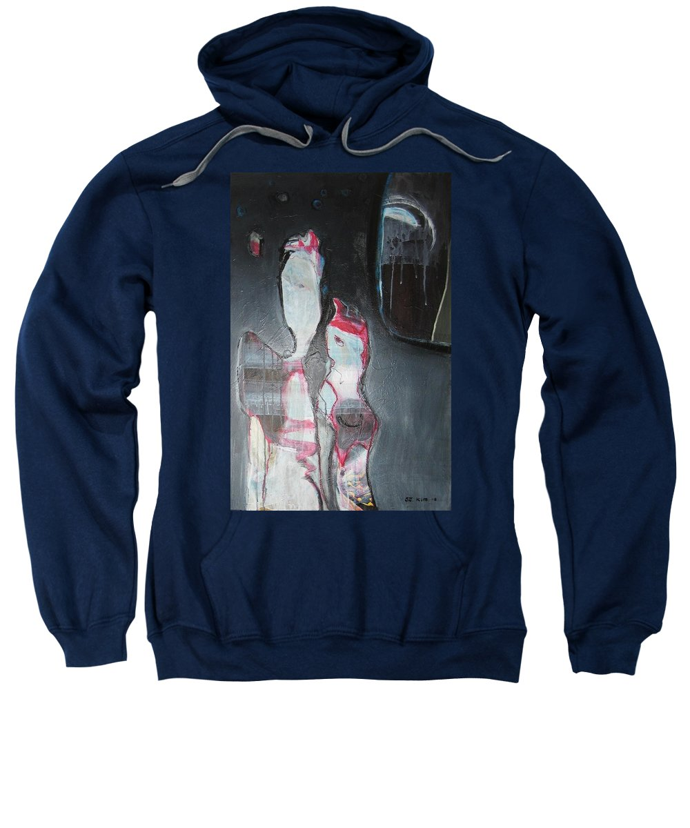 Abstract Paintings Sweatshirt featuring the painting A Flase Rumor by Seon-Jeong Kim