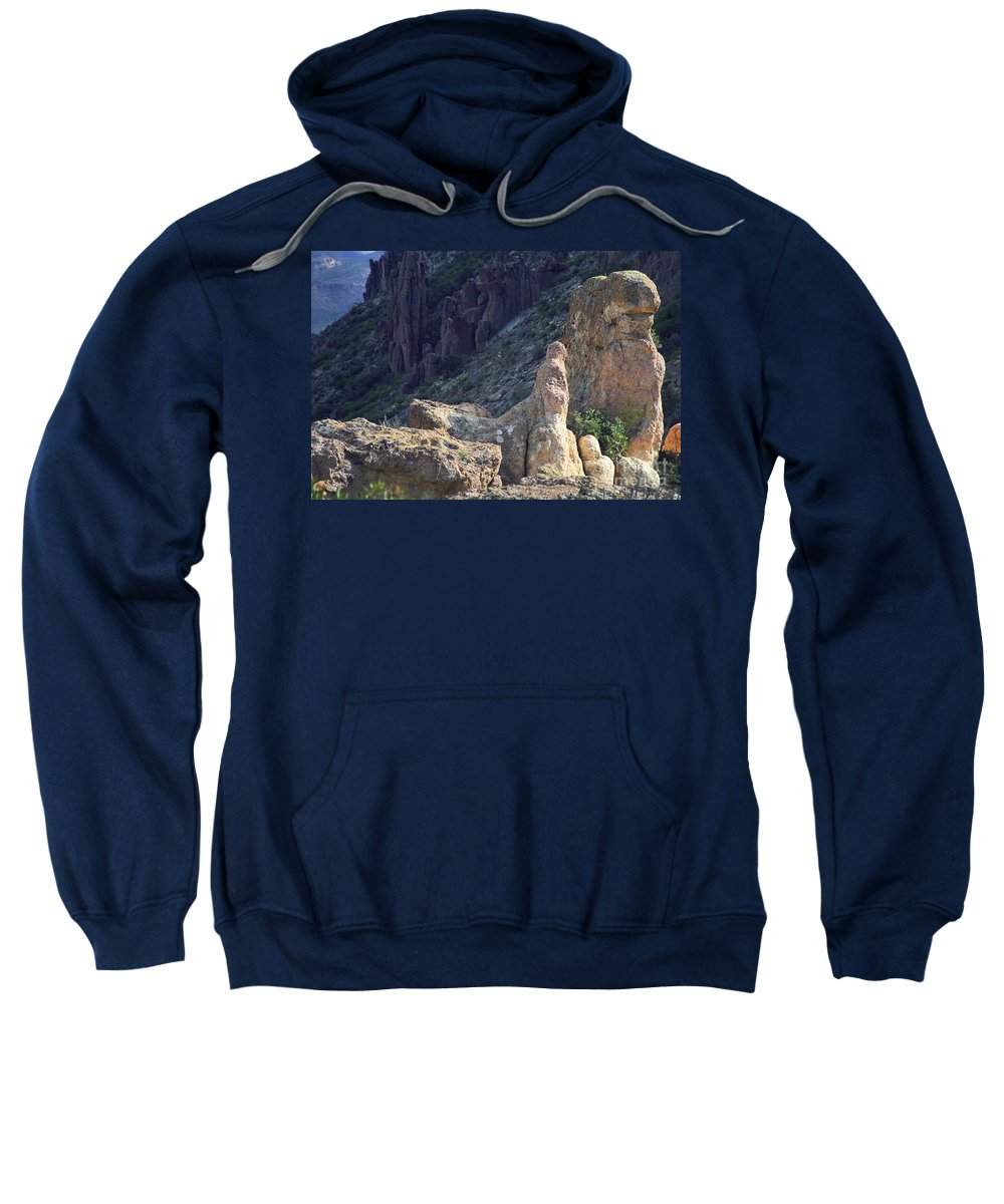 Rock Formations Sweatshirt featuring the photograph A Hard Ride by Kathy McClure