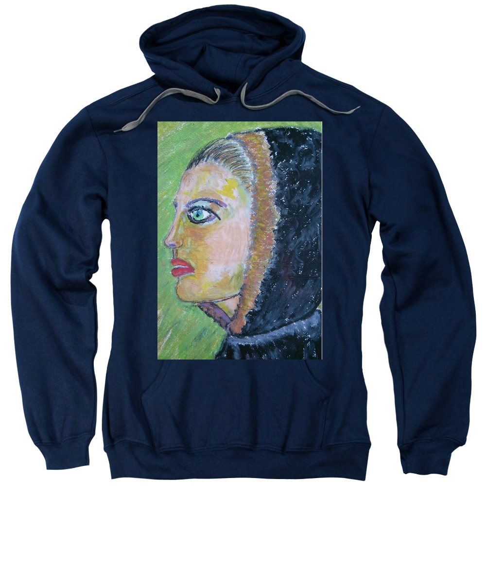 Female Face Sweatshirt featuring the painting A Lady's Profile In The Navy Hood by Beppe Fassina