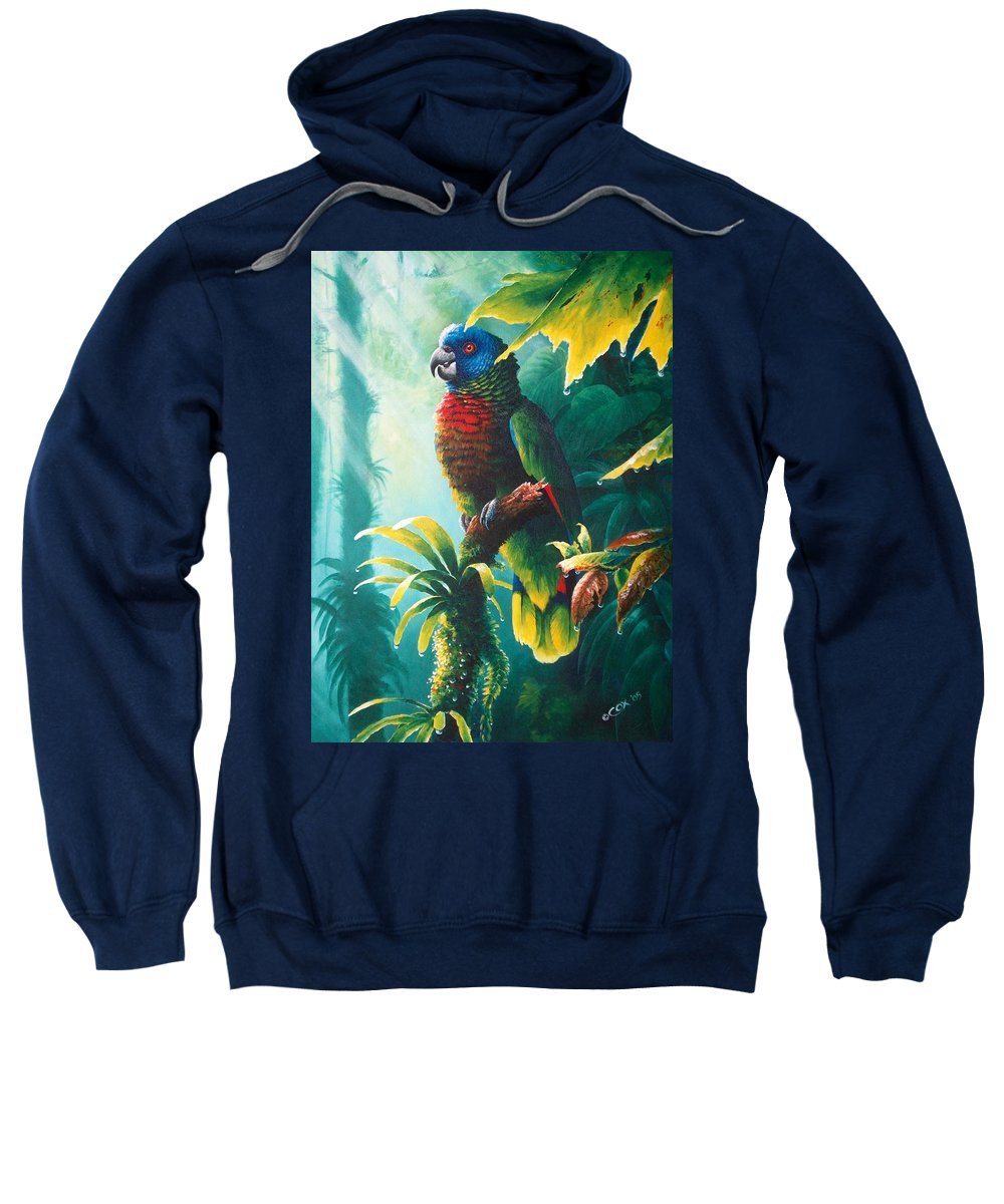 Chris Cox Sweatshirt featuring the painting A Shady Spot - St. Lucia Parrot by Christopher Cox