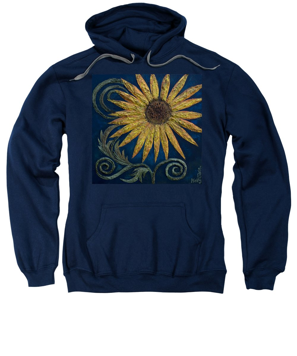 Sunflower Sweatshirt featuring the painting A Sunflower by Kelly Jade King