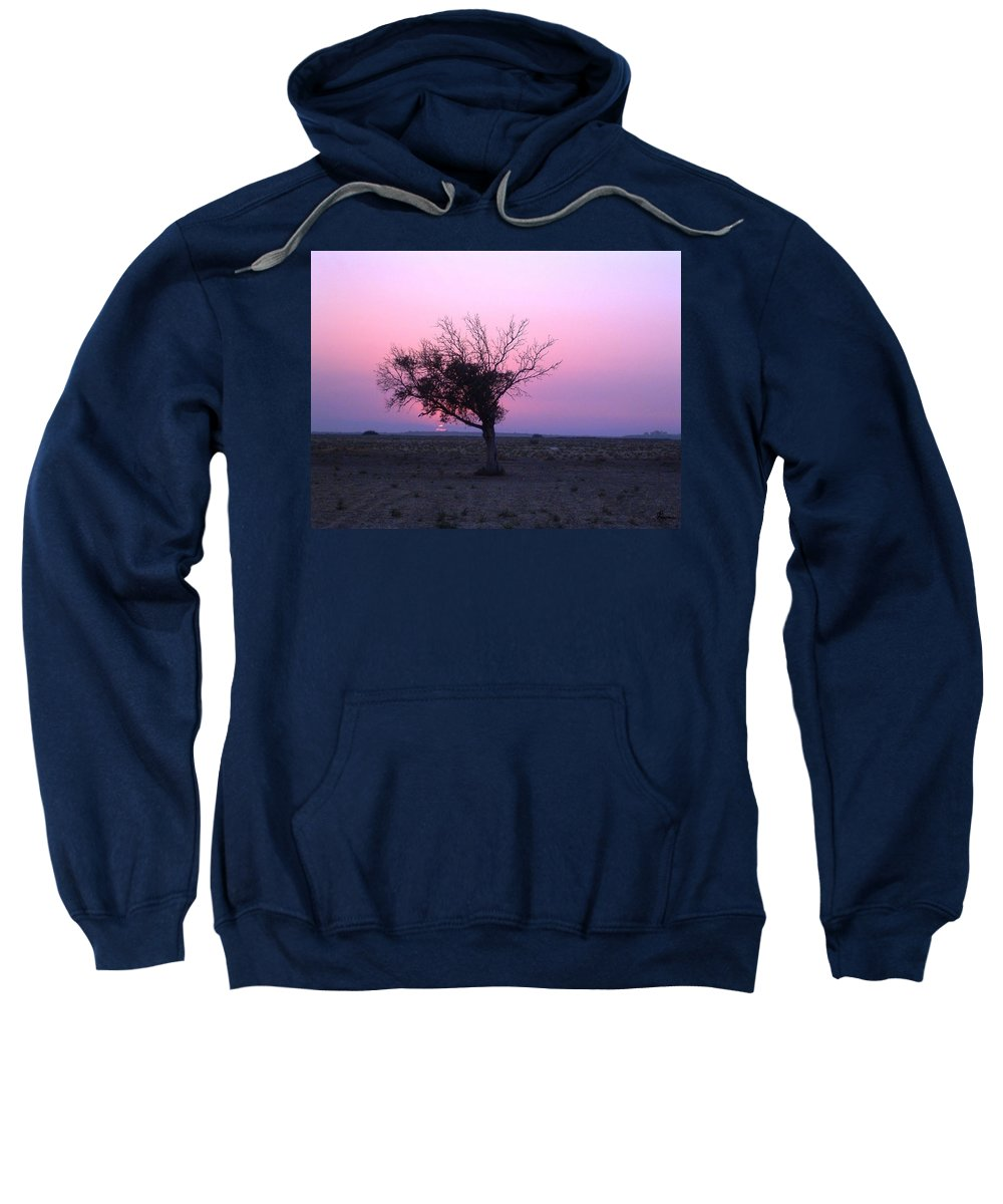 Lone Tree Sunset Purple Sky Desert Isolated Lonely Baron Land Sweatshirt featuring the photograph A Touch Of Alone by Andrea Lawrence