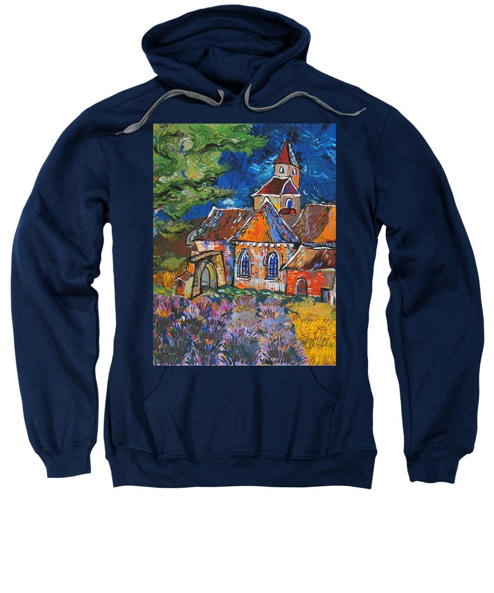 Landscape Sweatshirt featuring the painting Abbaye De Senanque by Raluca Nedelcu