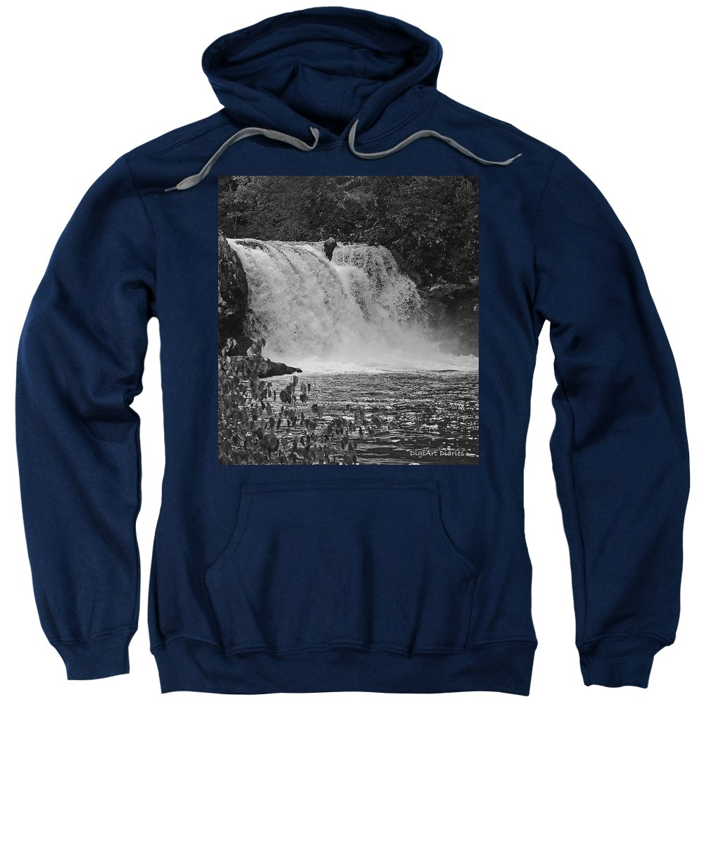 Abrams Falls Sweatshirt featuring the digital art Abrams Falls Cades Cove Tn Black And White by DigiArt Diaries by Vicky B Fuller
