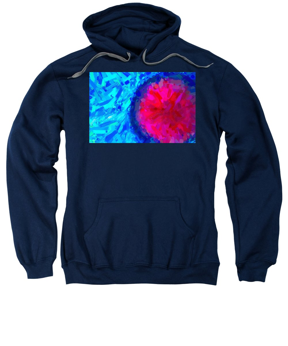 Abstract Sweatshirt featuring the painting Abstract Art Combination - The Pink Martian Crater, Ca 2017, Byy Adam Asar by Adam Asar