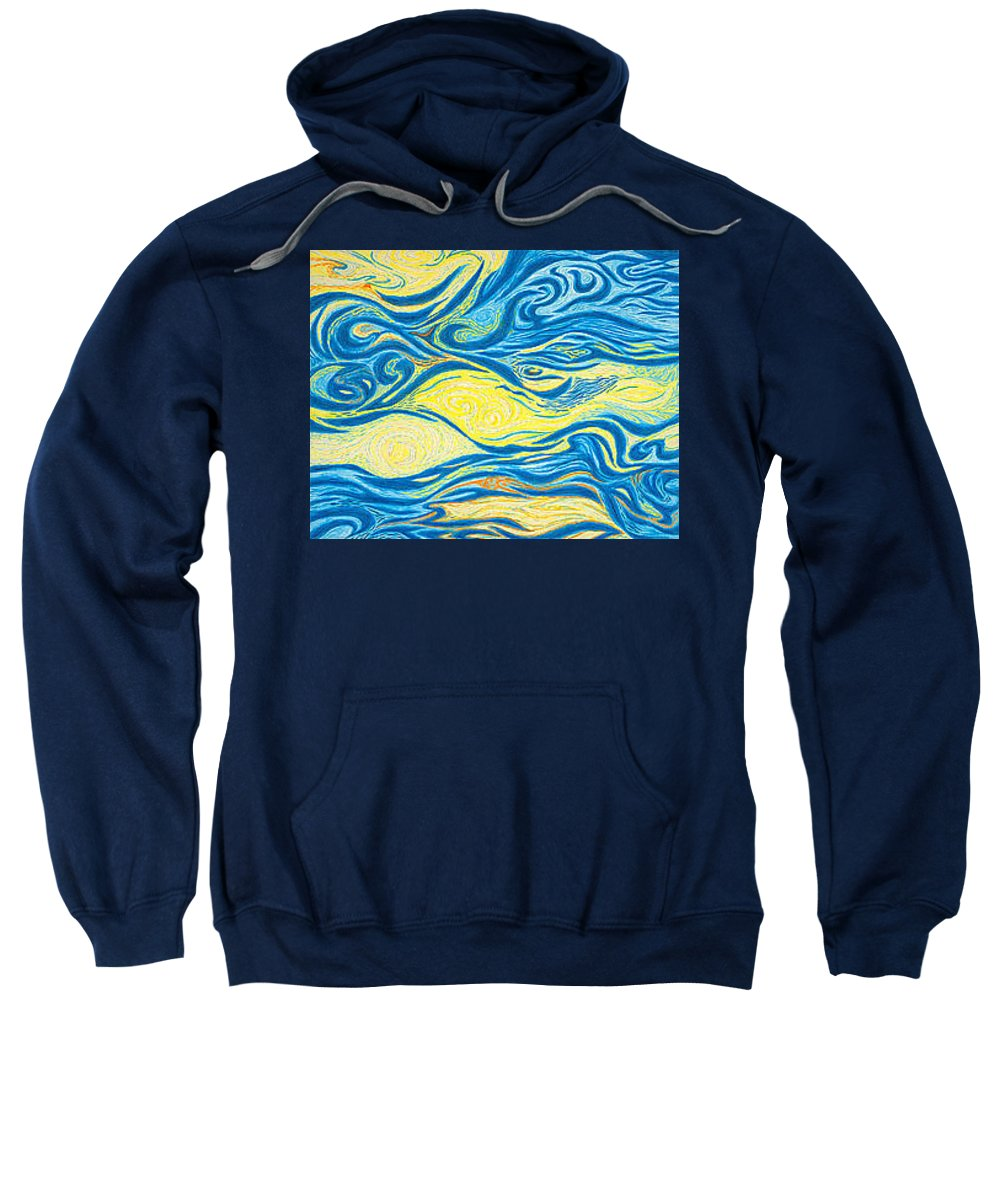 Art Sweatshirt featuring the drawing Abstract Art Good Morning Contemporary Modern Artwork Giclee Fine Art Prints Life Cycle Swirls Water by Baslee Troutman
