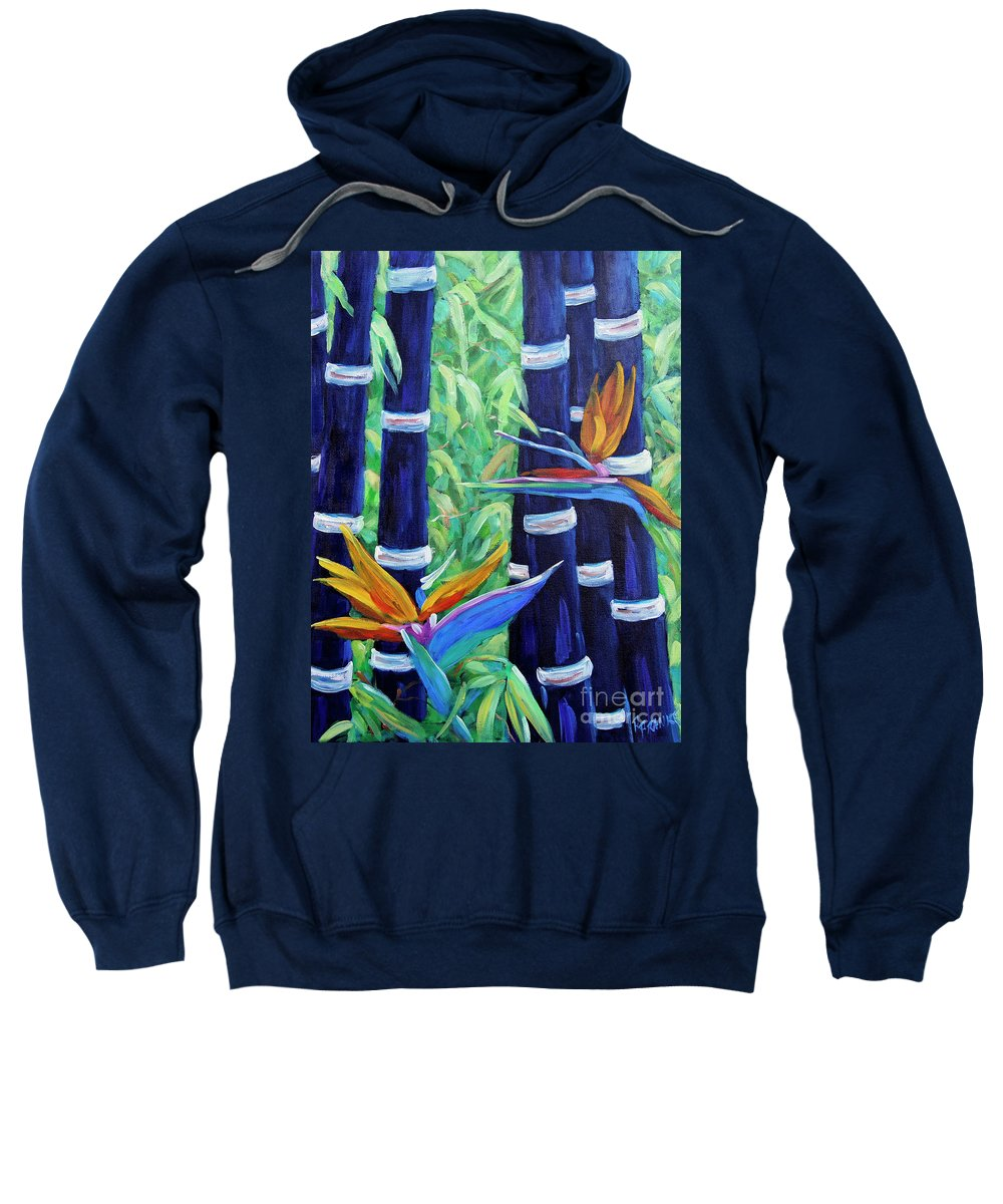Art Sweatshirt featuring the painting Abstract Bamboo And Birds Of Paradise 04 by Richard T Pranke