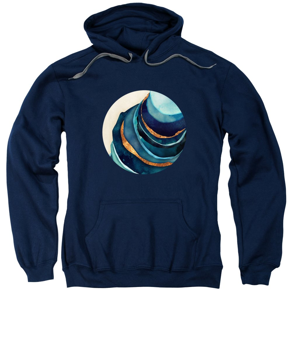 Blue Sweatshirt featuring the digital art Abstract Blue With Gold by Spacefrog Designs