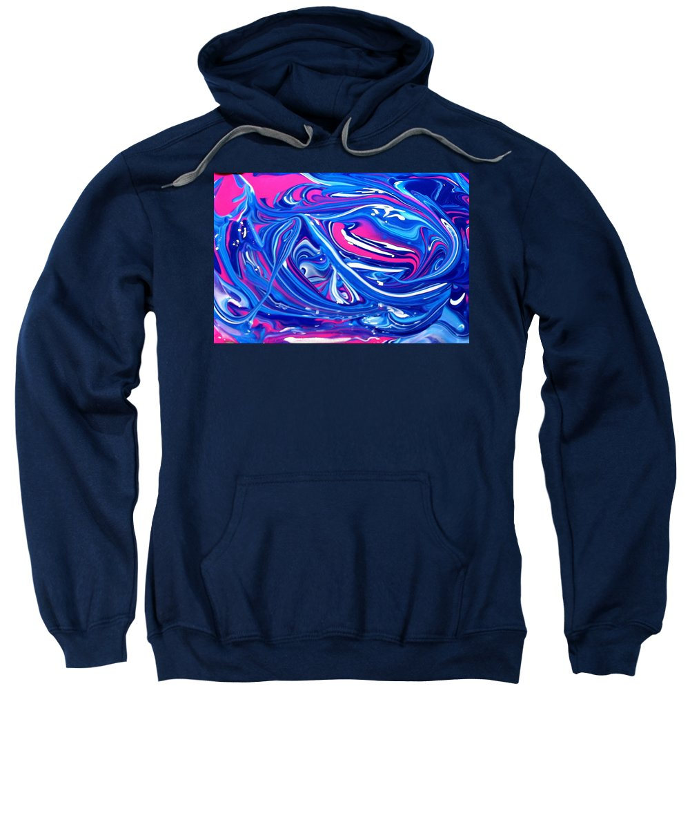Blue Sweatshirt featuring the painting Abstract Experiment by Lene Pieters
