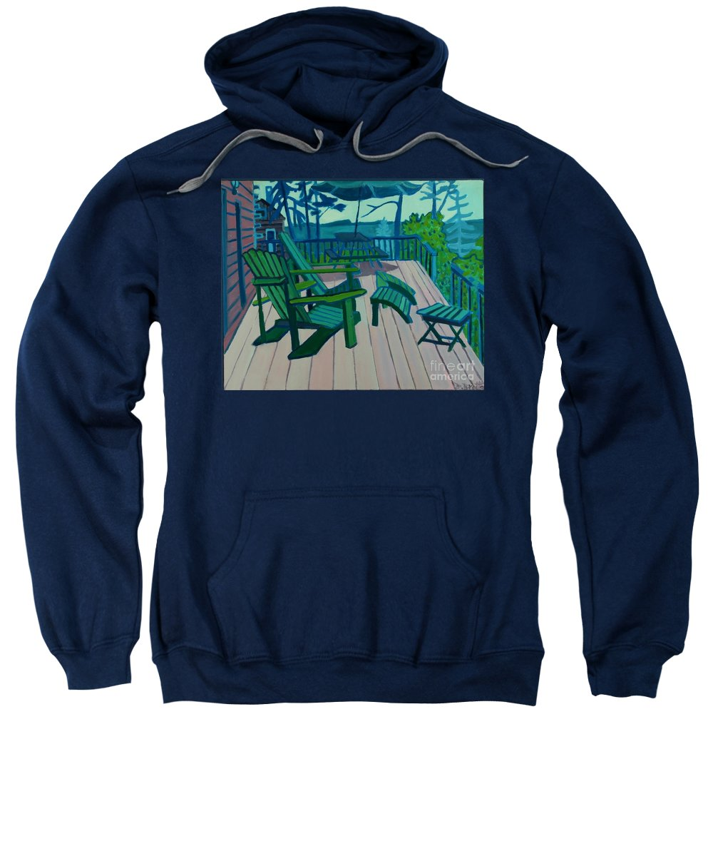 Ocean Sweatshirt featuring the painting Adirondack Chairs Maine by Debra Bretton Robinson
