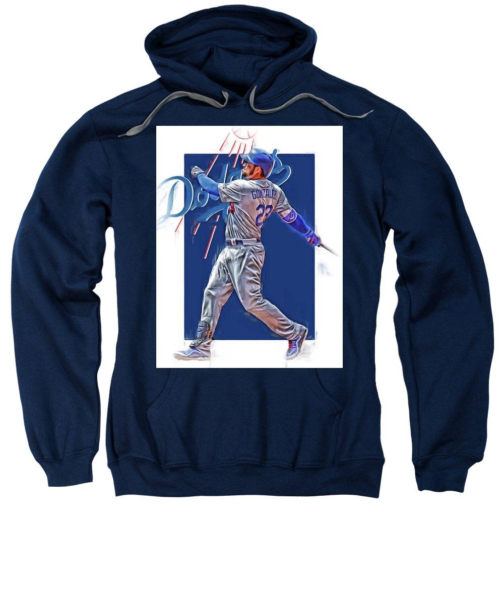 Adrian Gonzalez Sweatshirt featuring the mixed media Adrian Gonzalez Los Angeles Dodgers Oil Art by Joe Hamilton