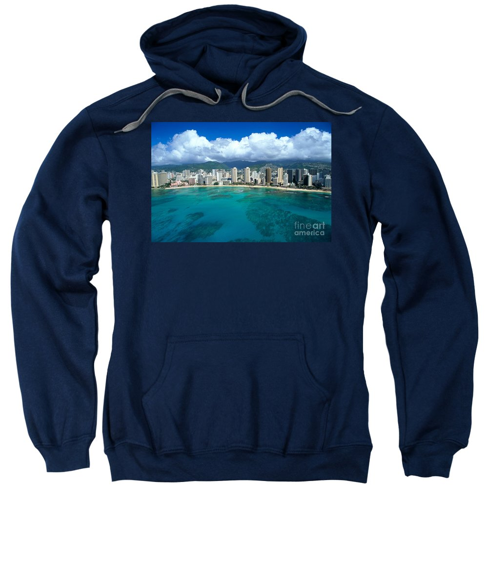 Above Sweatshirt featuring the photograph Aerial Of Waikiki by Peter French - Printscapes