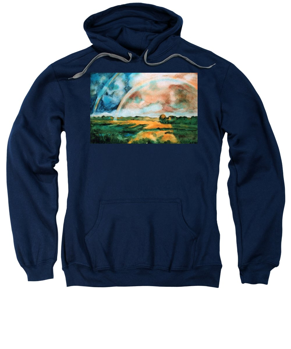Landscape Sweatshirt featuring the painting After The Rain by Iliyan Bozhanov